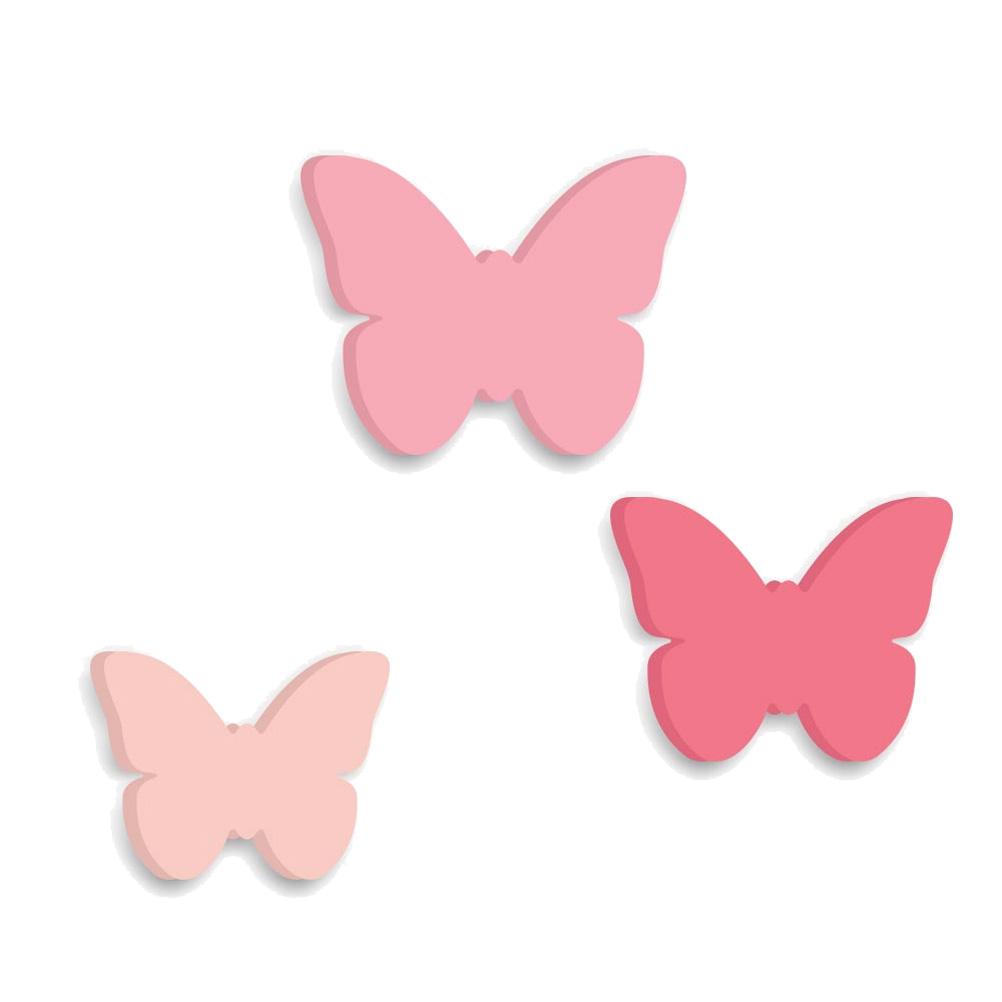 Crochets patères enfants papillons - Lot de 3