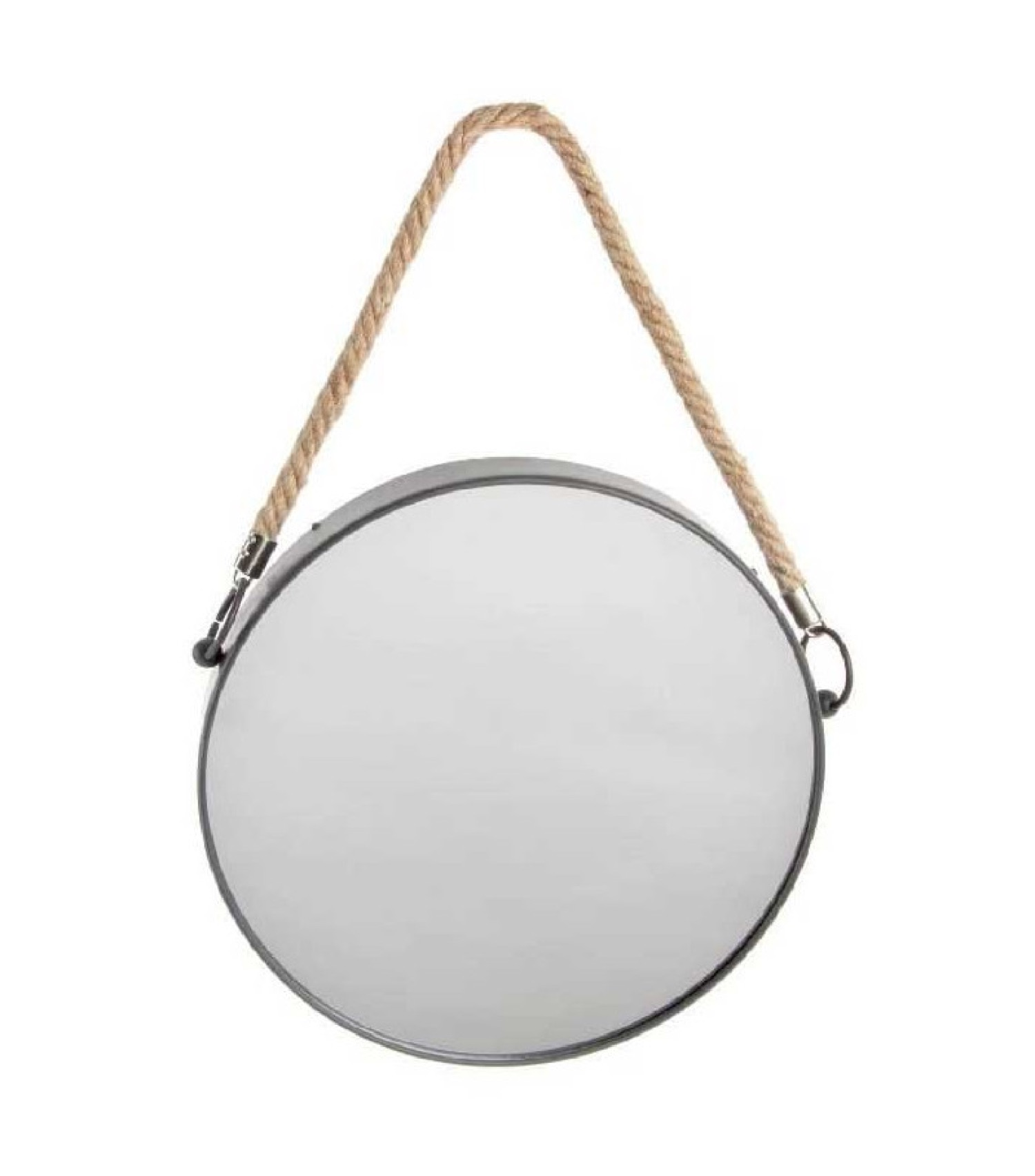 Miroir suspendu métal noir rond lanière corde D31cm