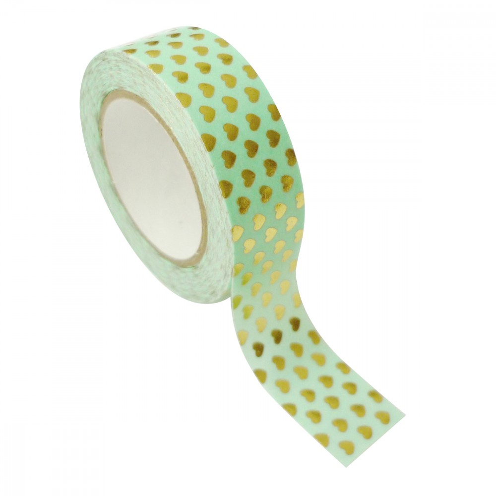 Masking tape vert coeurs dorés 1,5cmx10m