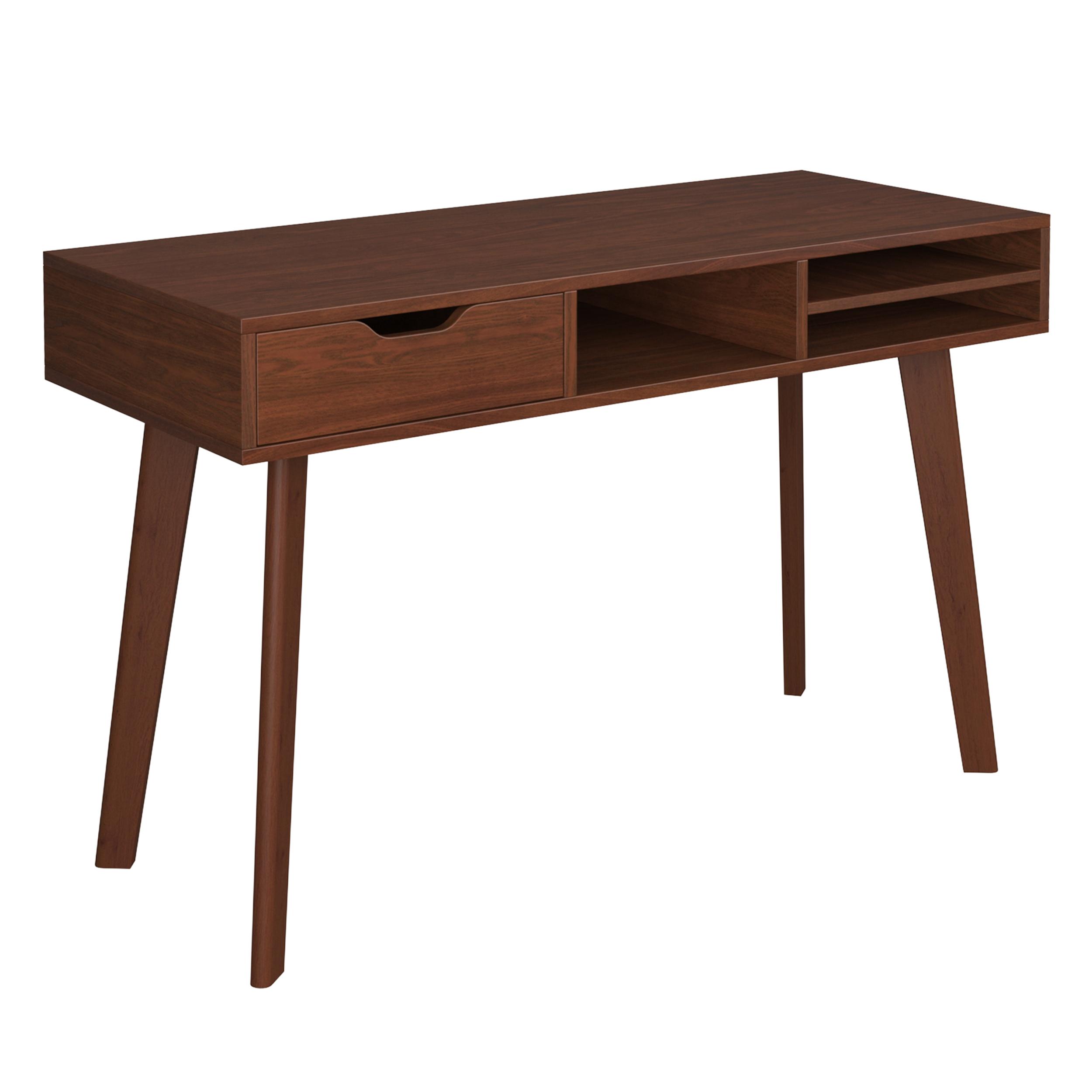 Bureau 1 tiroir et 3 niches en bois foncé