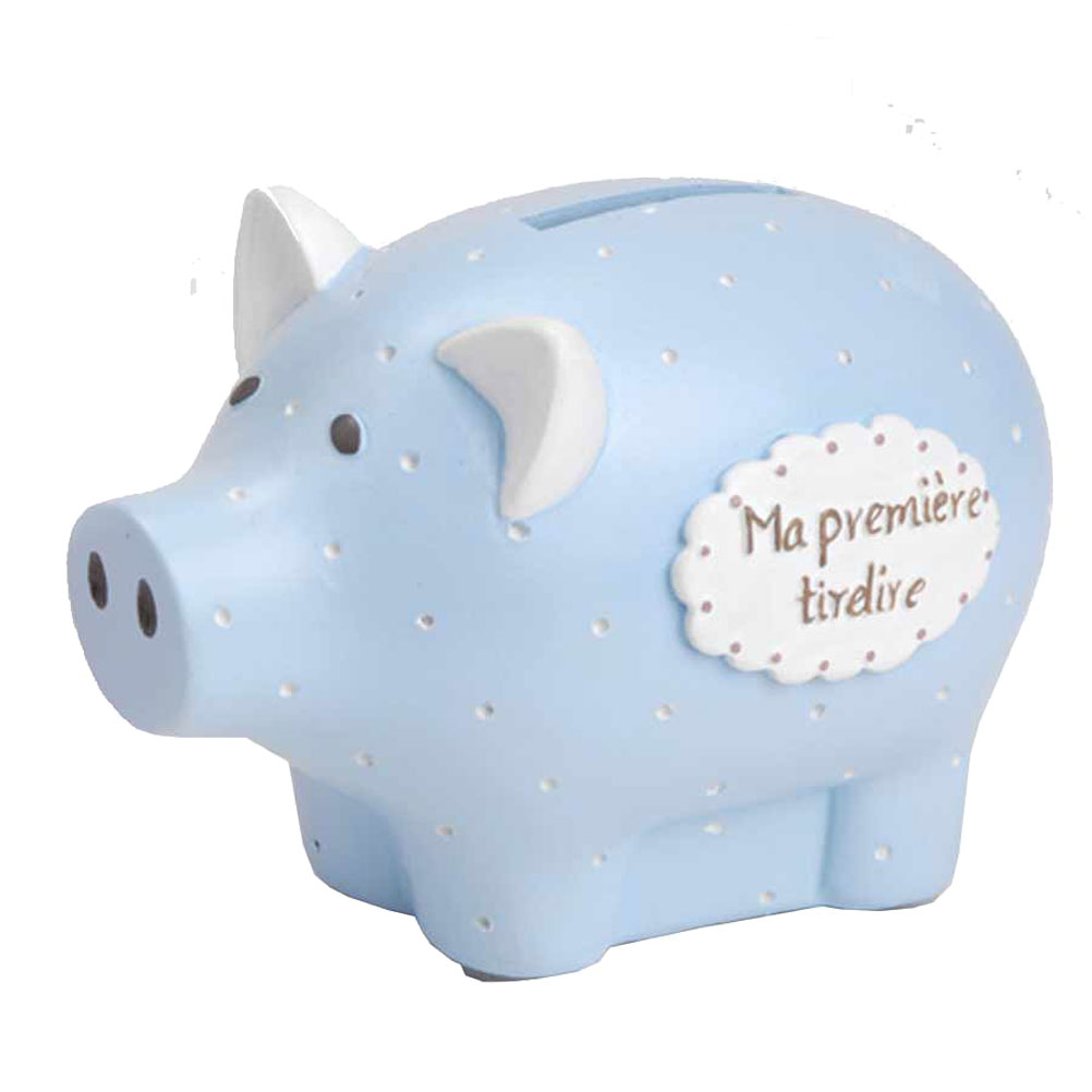 Petite tirelire cochon bleu