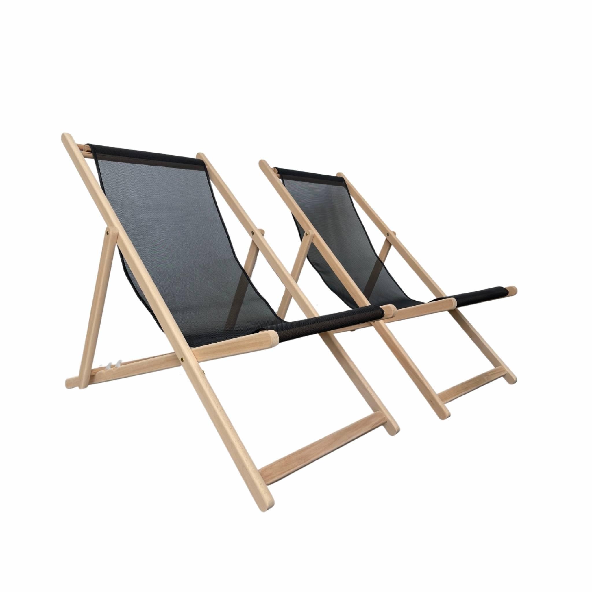 2 bains de soleil en bois de hêtre et textile batyline