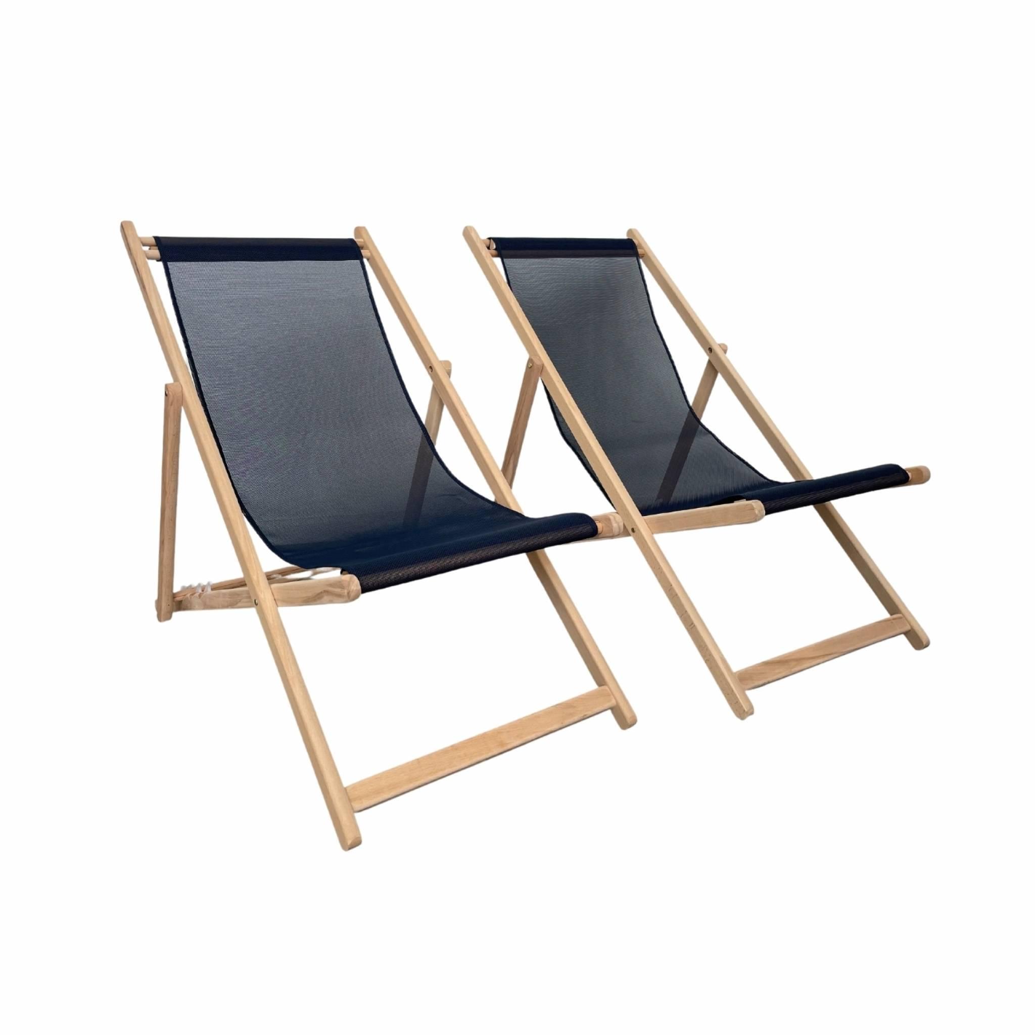 Bain de soleil en bois de hêtre et textile batyline