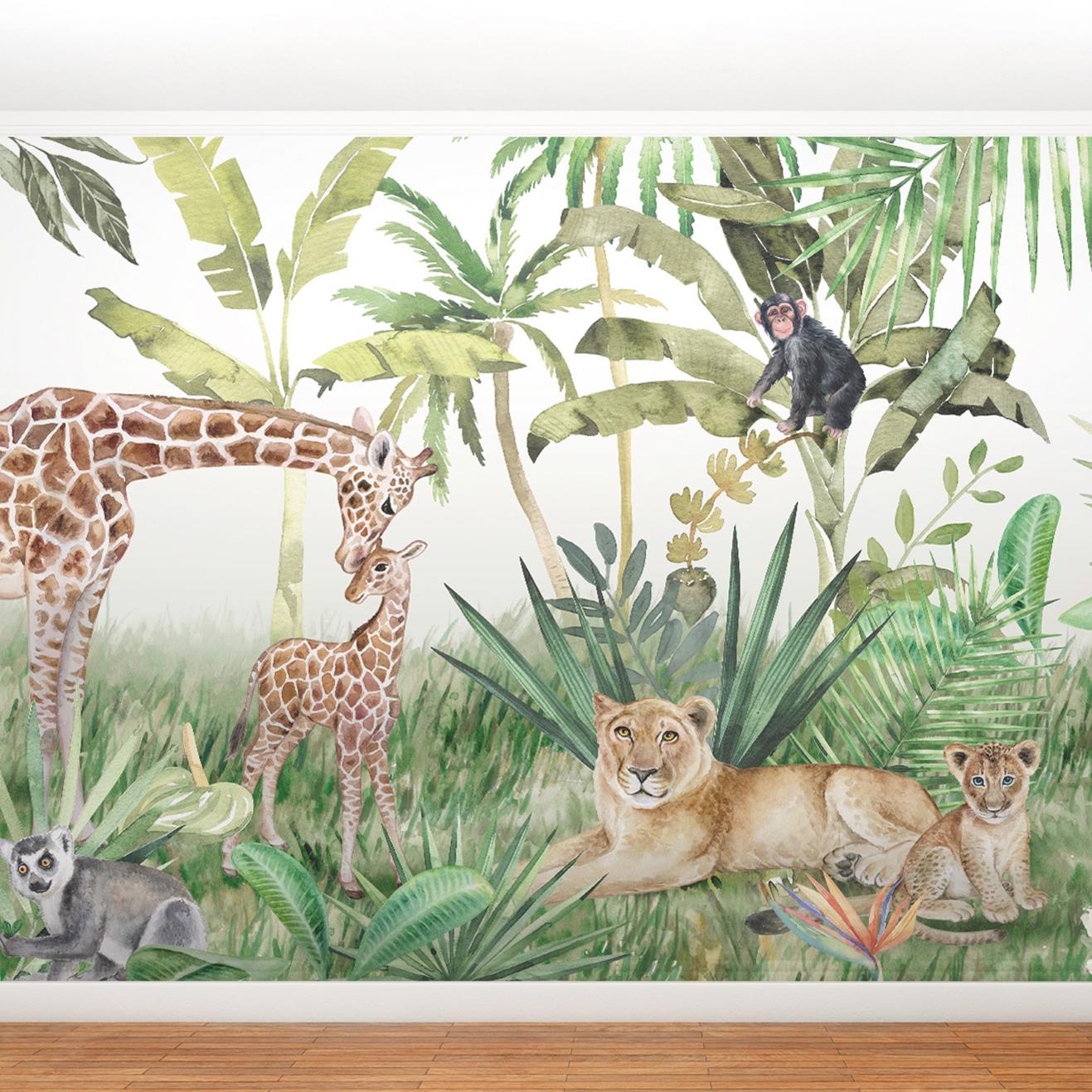 Papier peint panoramique Animaux dans la jungle 255x260cm