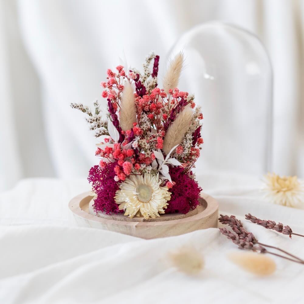 Cloche fleurs séchées Alban H16cm