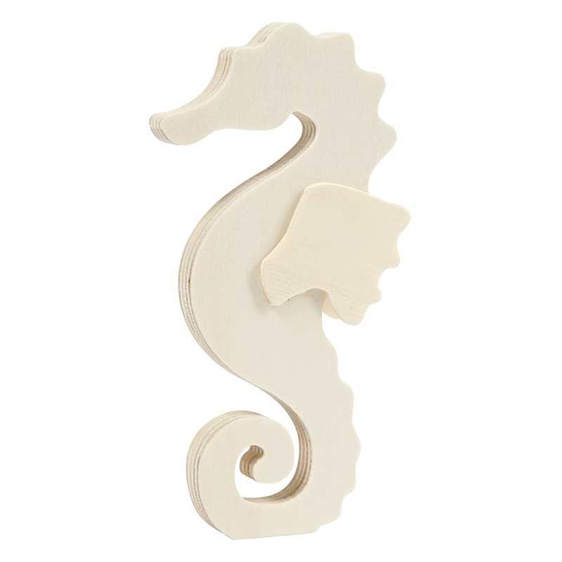 Hippocampe en bois à décorer 16x8,5cm