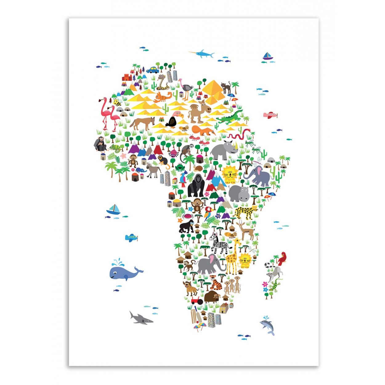 ANIMAL MAP OF AFRICA -   Affiche d'art 50 x 70 cm