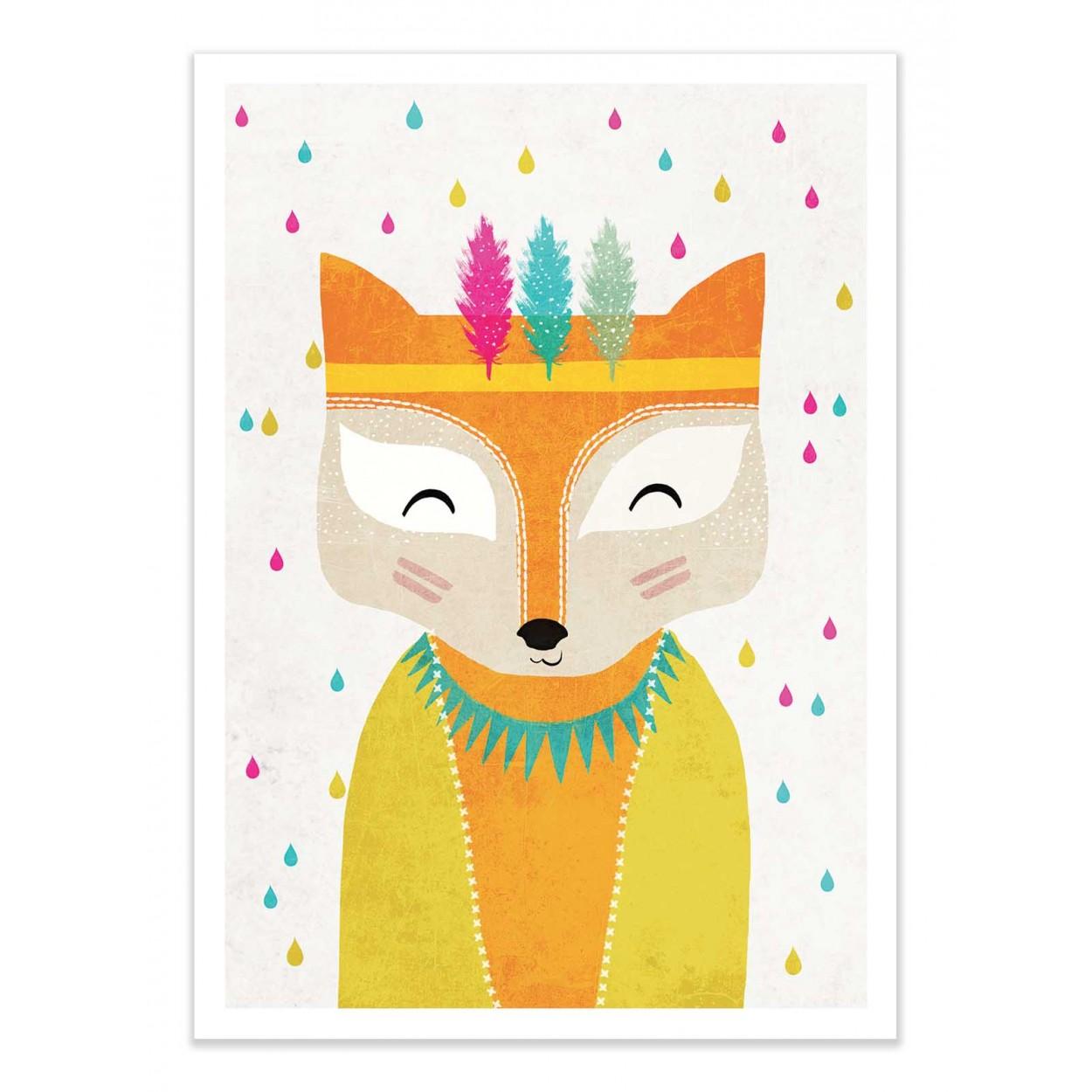 REGENMACHER FOX - TREECHILD -  Affiche d'art 50 x 70 cm