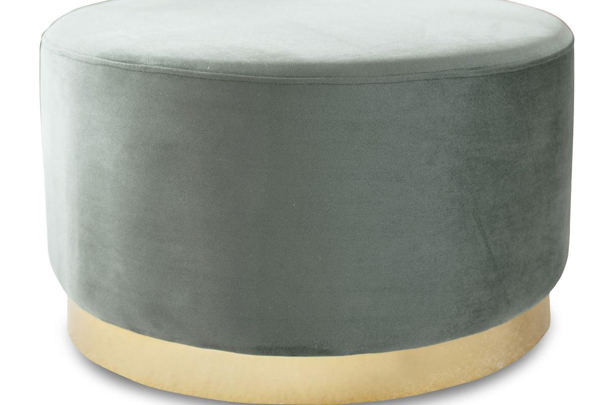 Grand pouf en laiton vert et métal doré