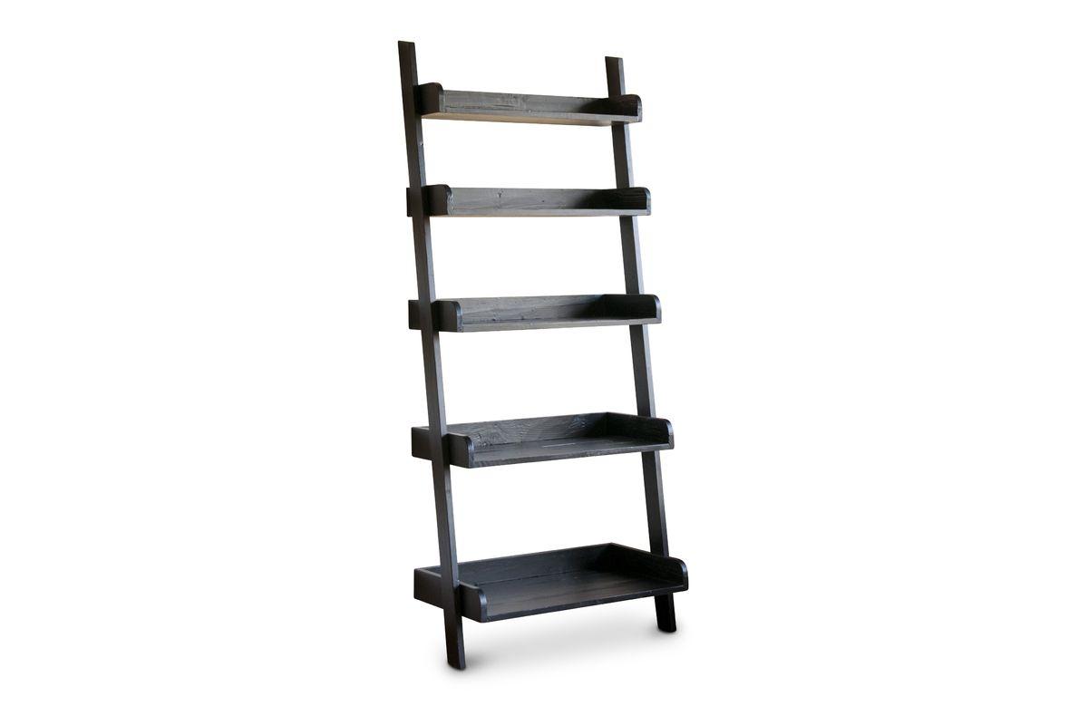 Bibliothèque échelle en bois noir