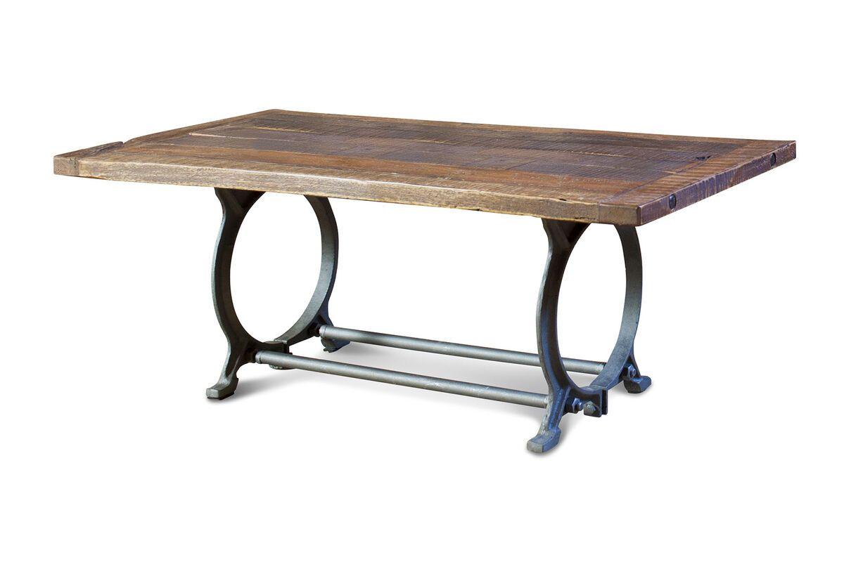 Table industrielle en bois marron