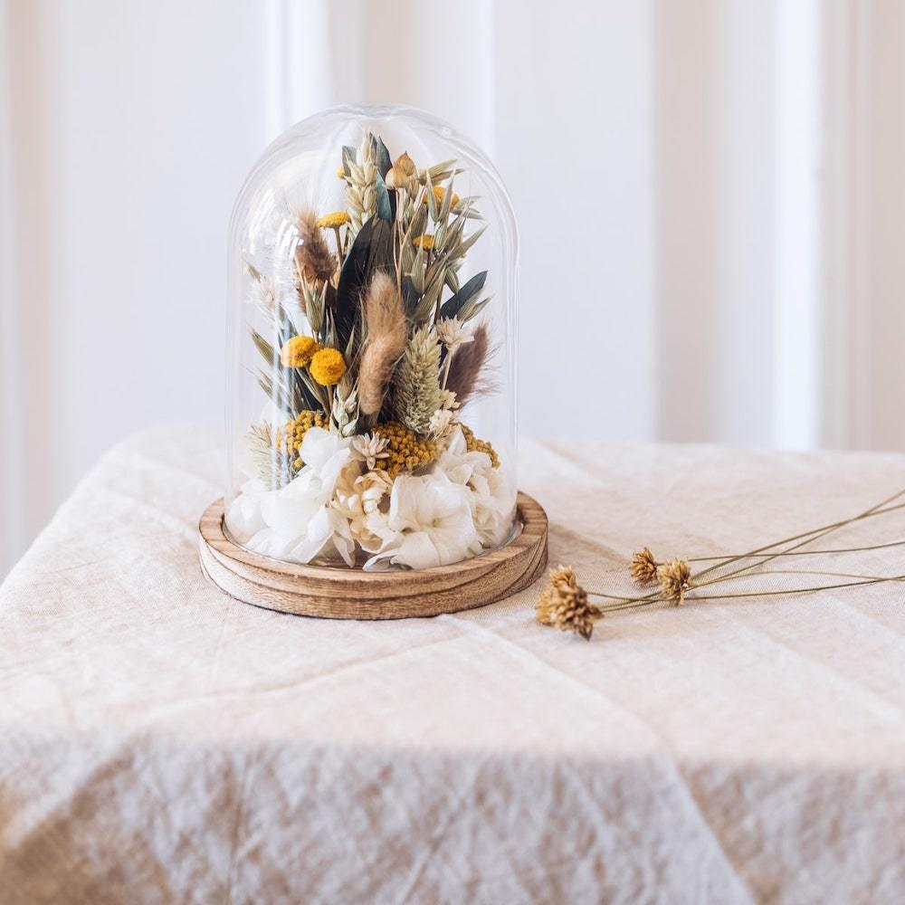 Cloche fleurs séchées Émile H16cm