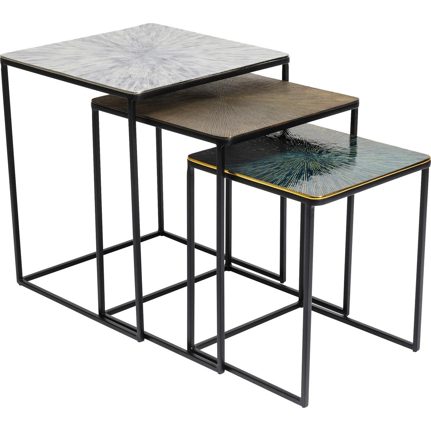 3 tables d'appoint gigognes en acier et aluminium