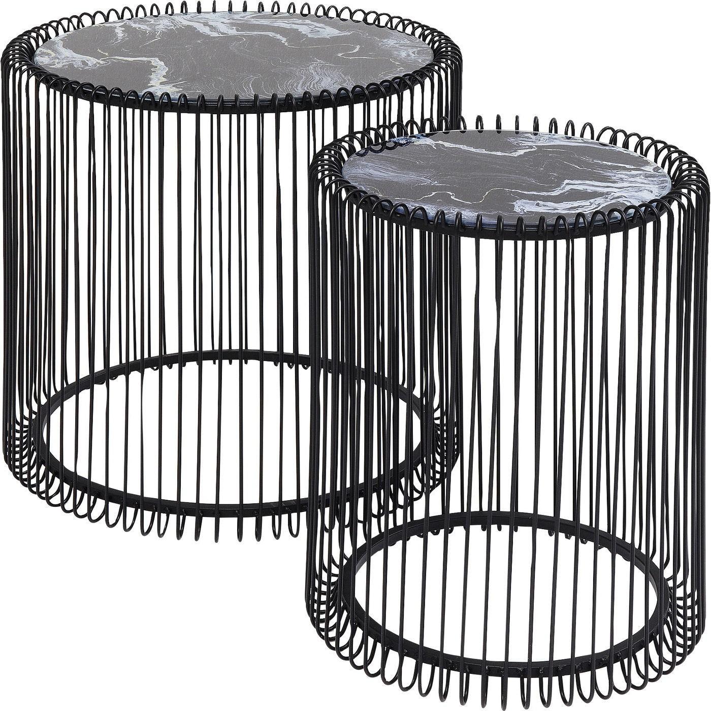 2 tables d'appoint rondes en acier noir et verre effet marbre