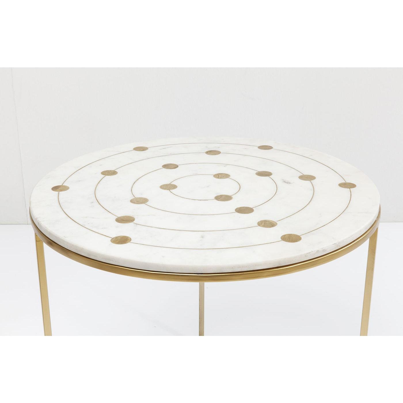 2 tables d'appoint gigognes en marbre et acier doré