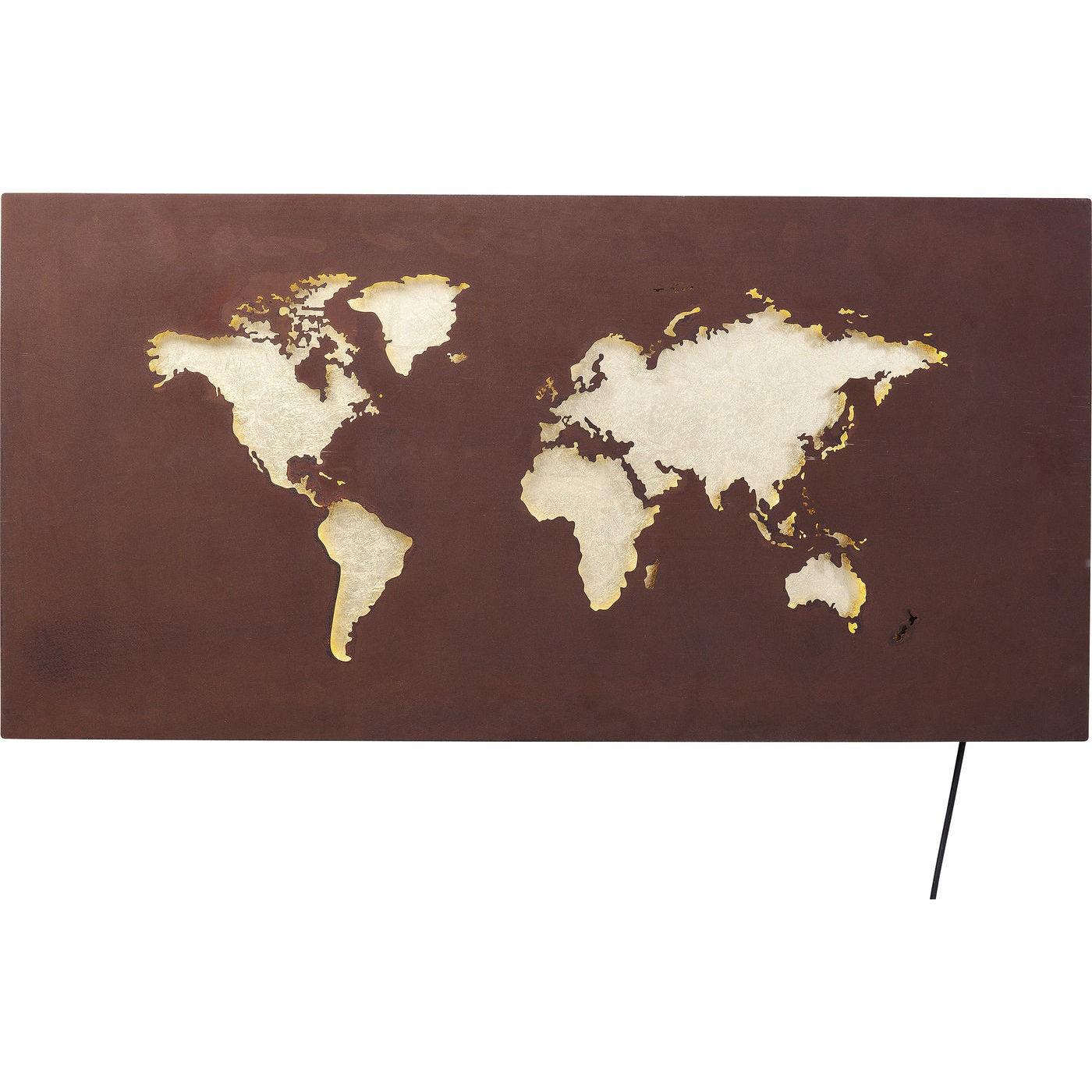 Applique carte du monde en acier