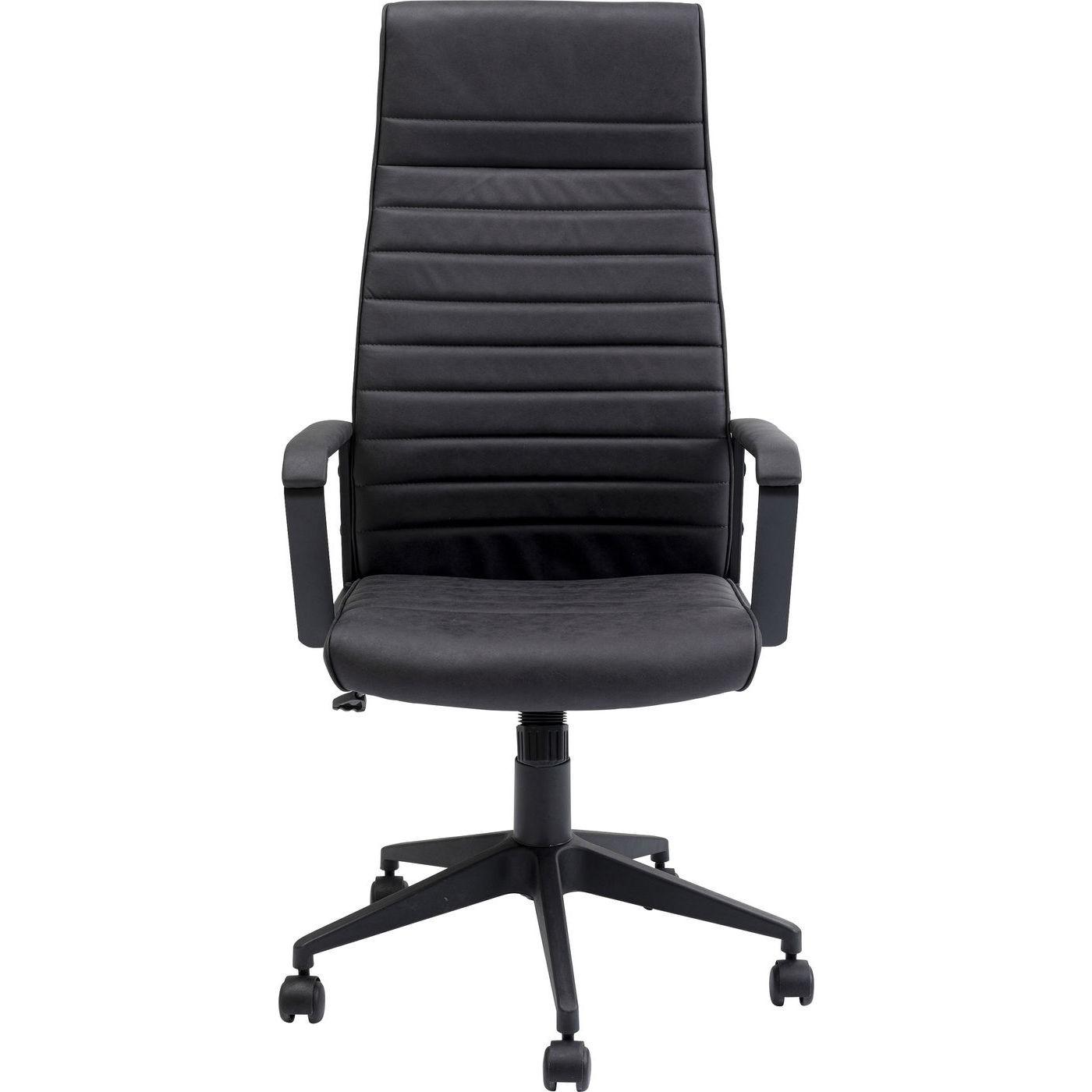 Chaise de bureau pivotante réglable à roulettes noire haute
