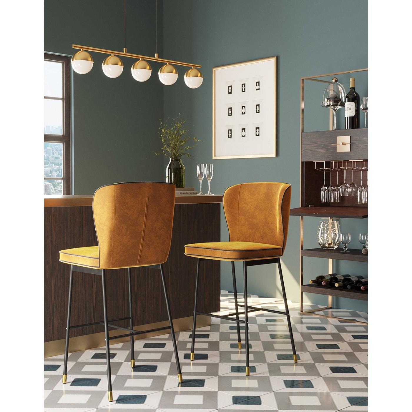 Tabouret de bar en velours ocre et acier