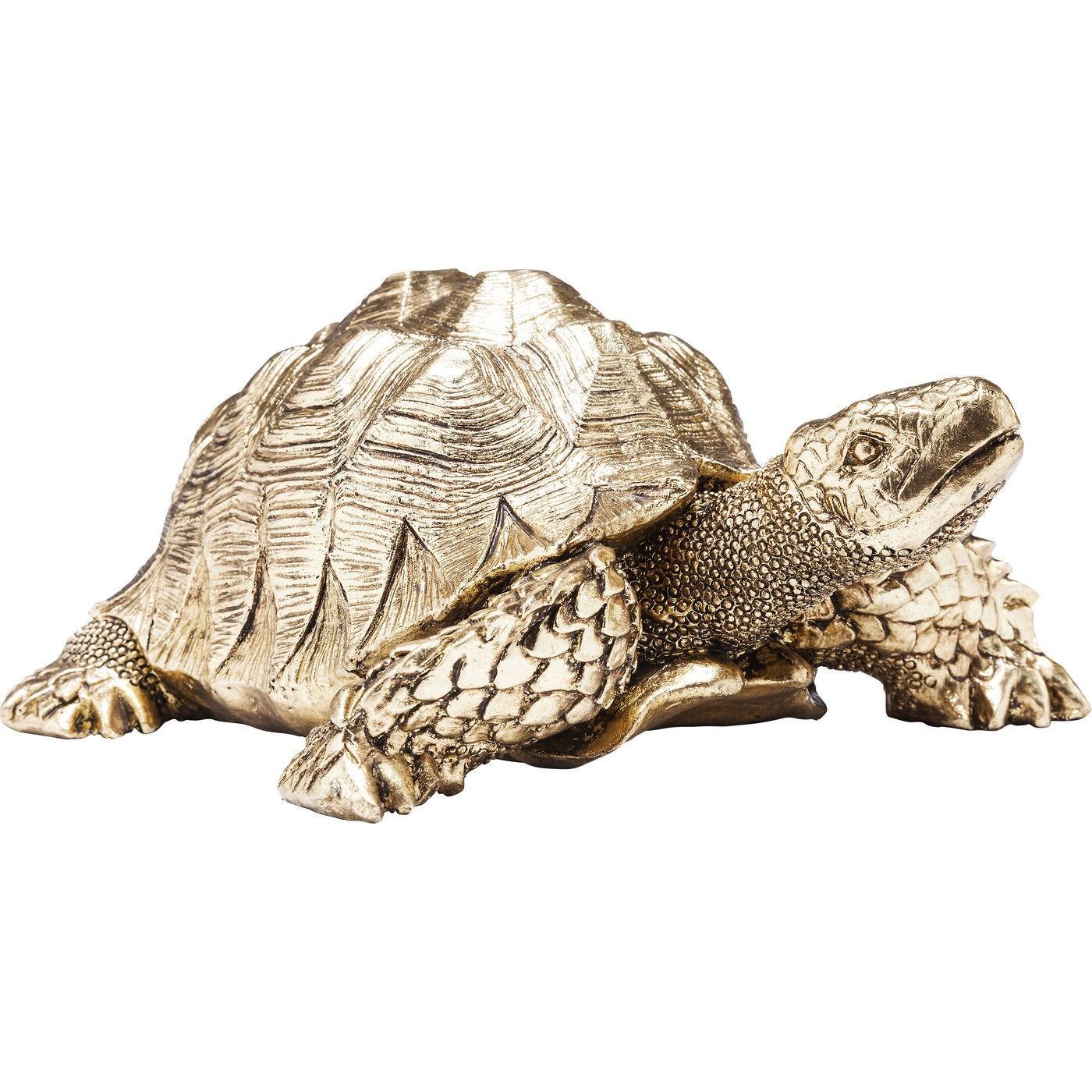 Statuette tortue en polyrésine dorée