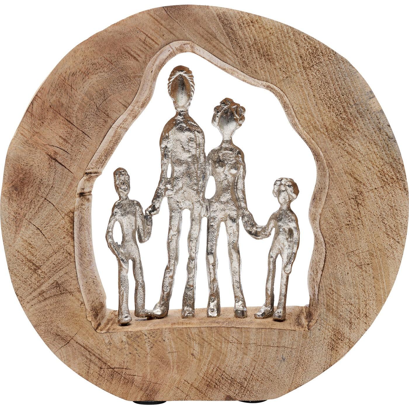 Statuette souche famille en bois et aluminium