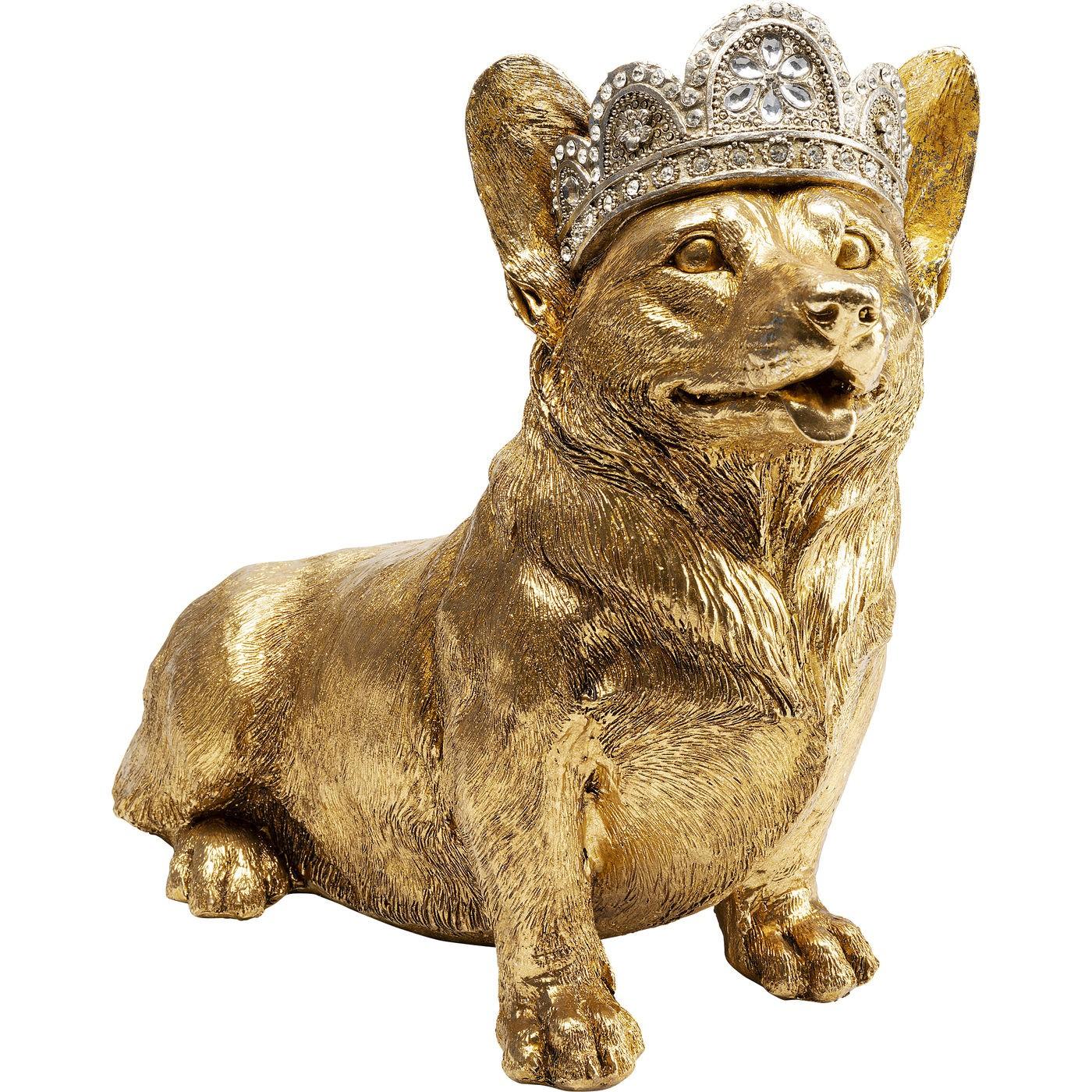 Statuette chien corgi couronne assis en polyrésine dorée