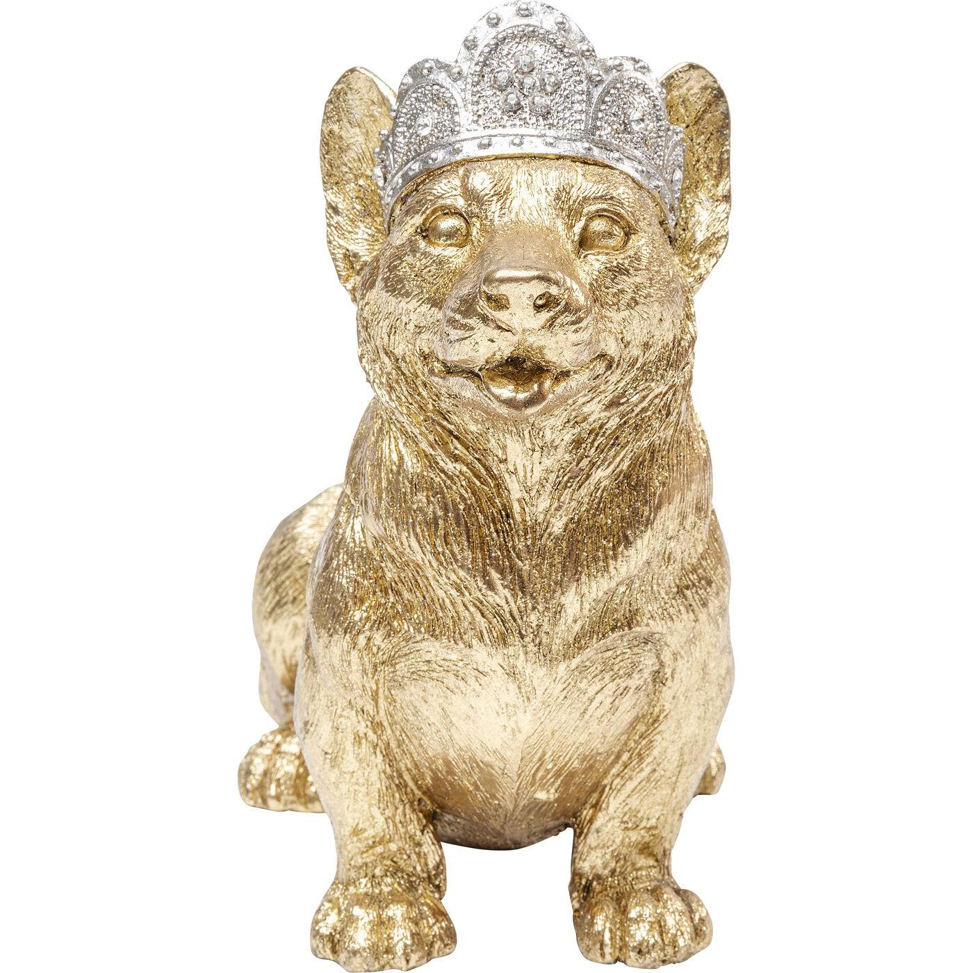 Tirelire chien corgi couronne en polyrésine dorée
