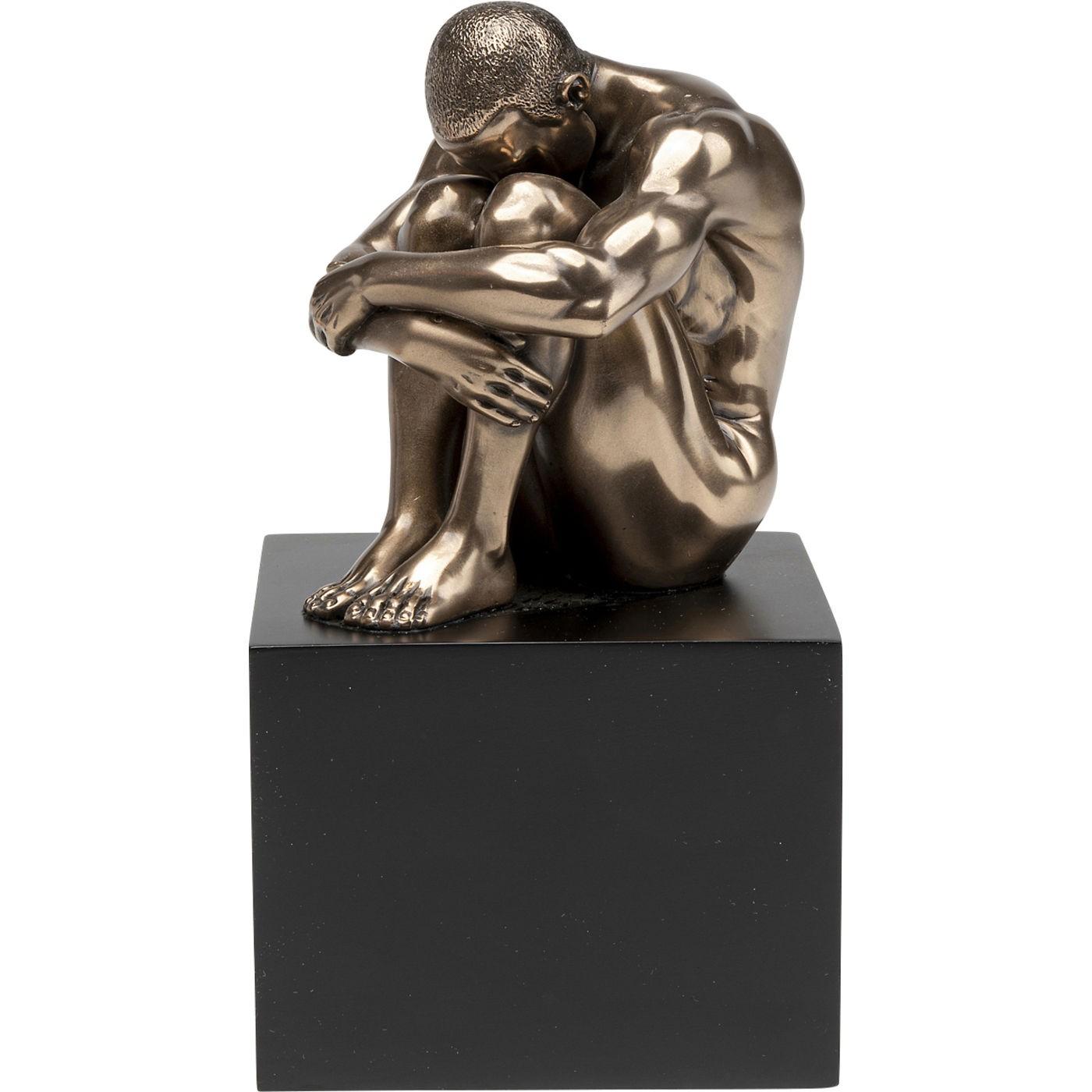 Statuette homme assis en polyrésine bronze