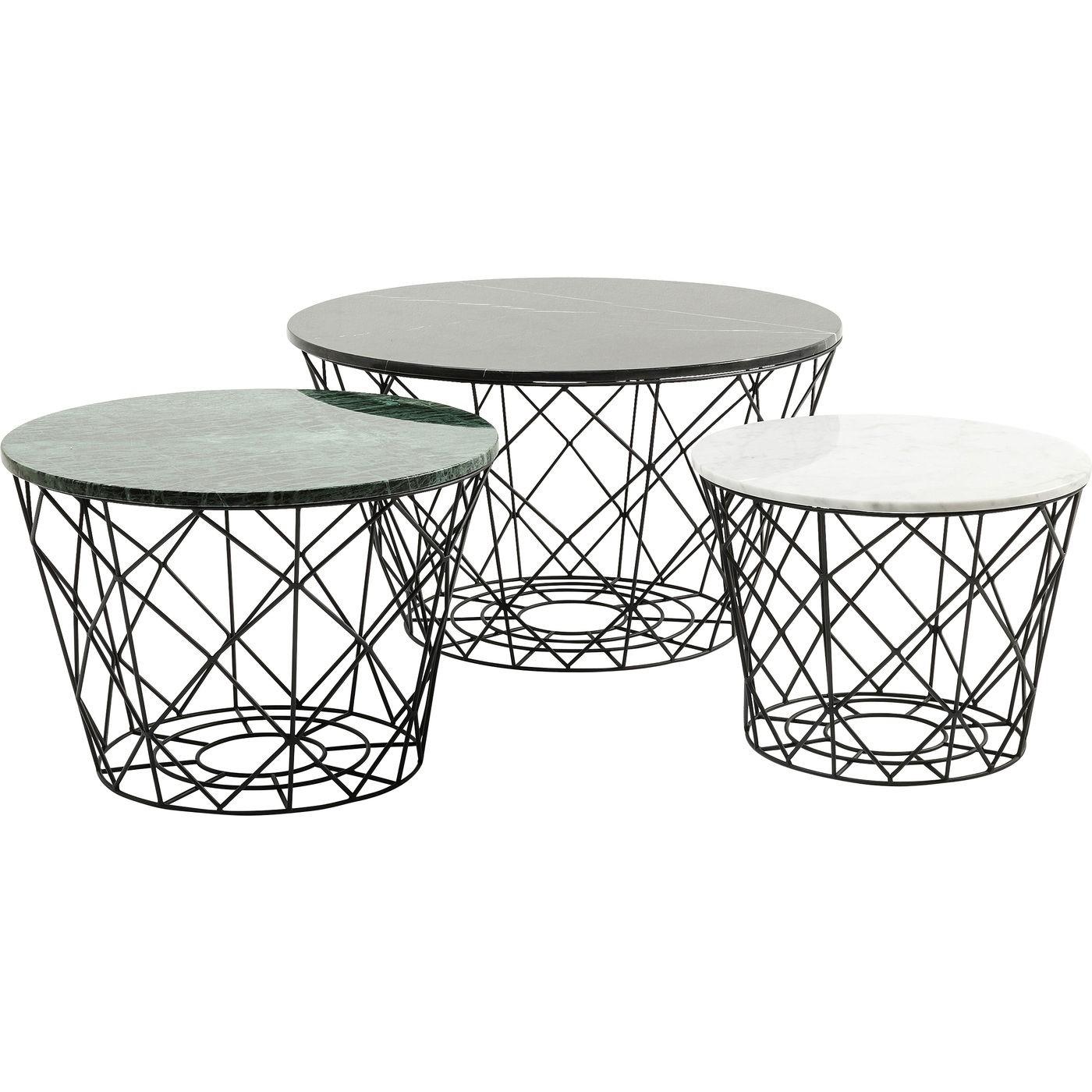 3 tables basses en marbre et acier