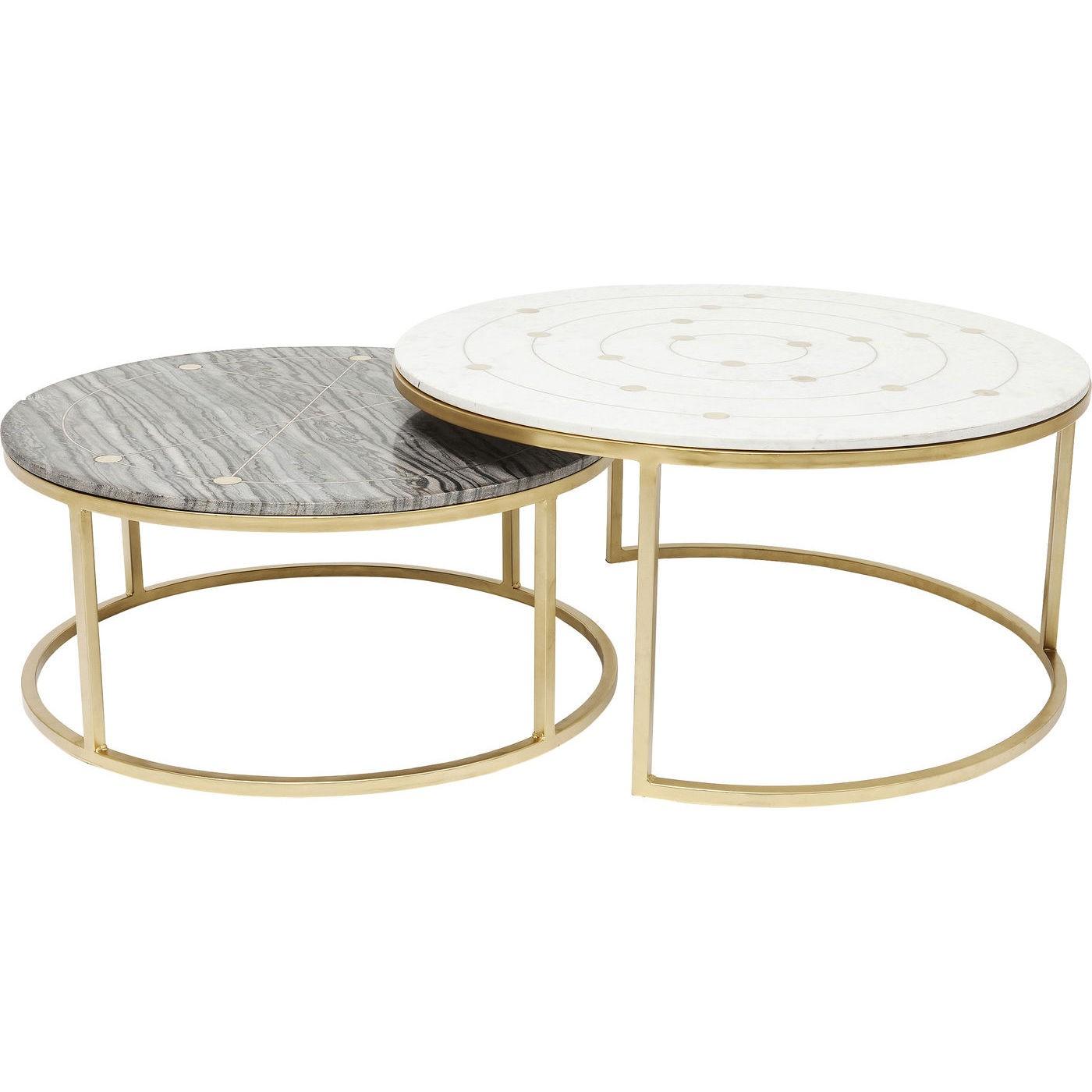 2 tables basses gigognes en marbre et acier doré