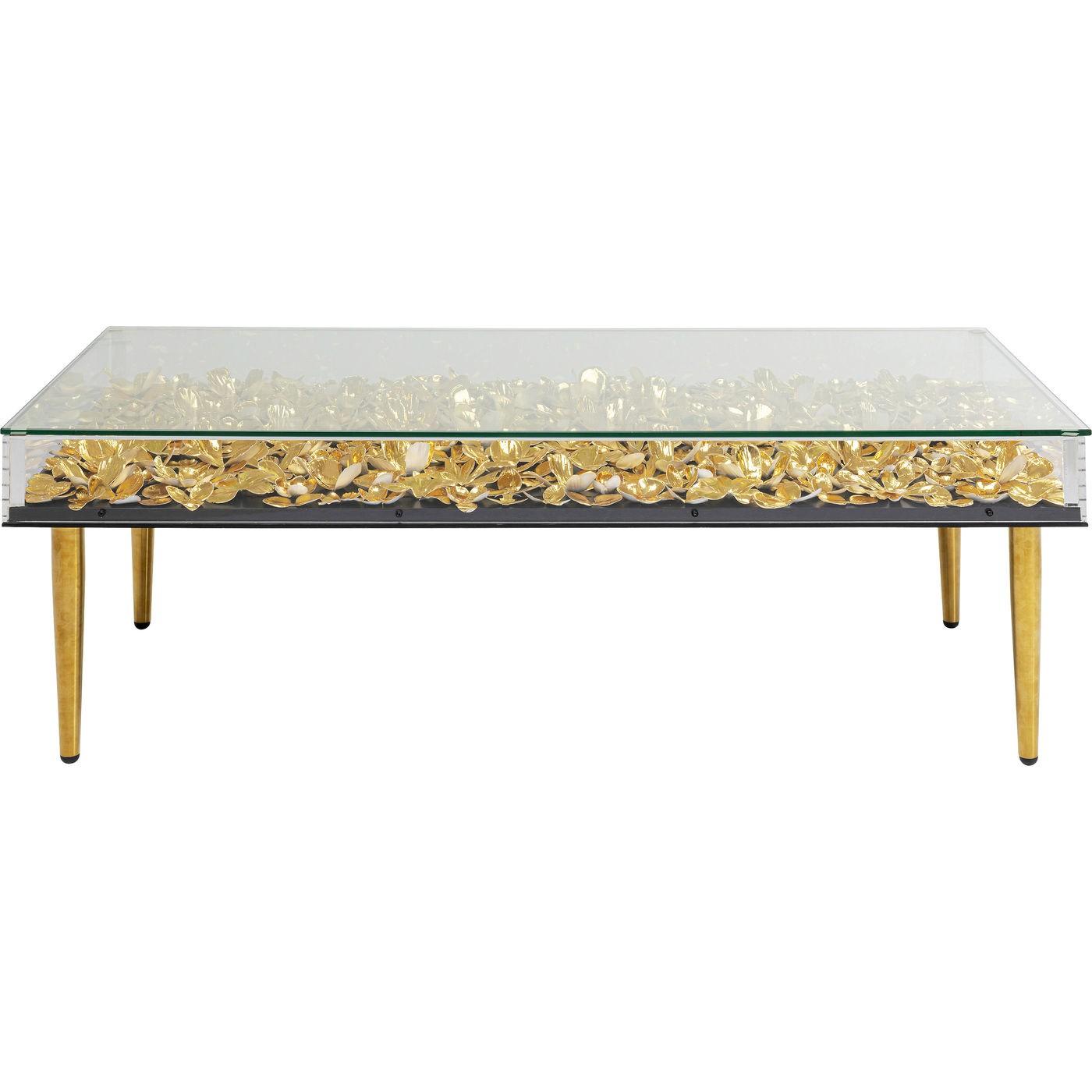 Table basse dorée fleurs en papier