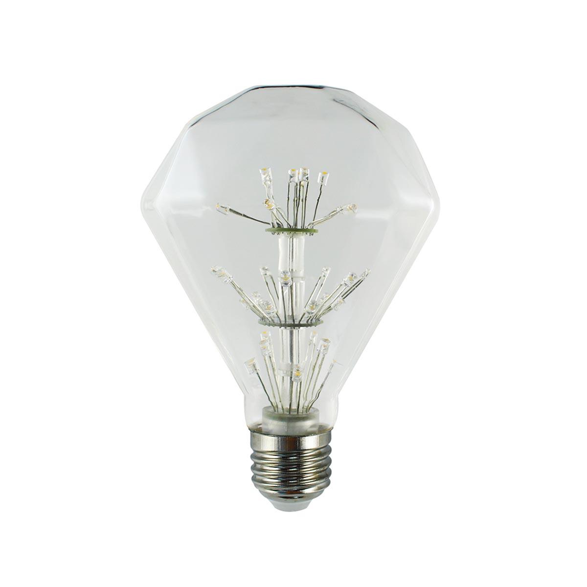 Ampoule LED E27 diamant verre transparent H14cm
