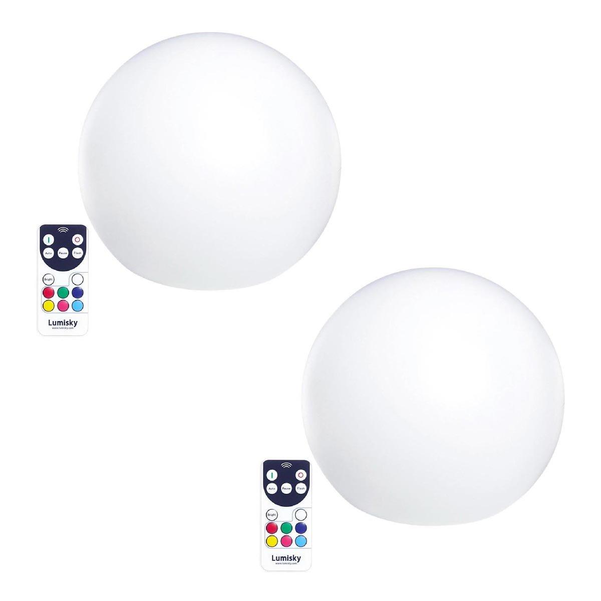 Lot de 2 boules flottantes plastique blanc 30cm