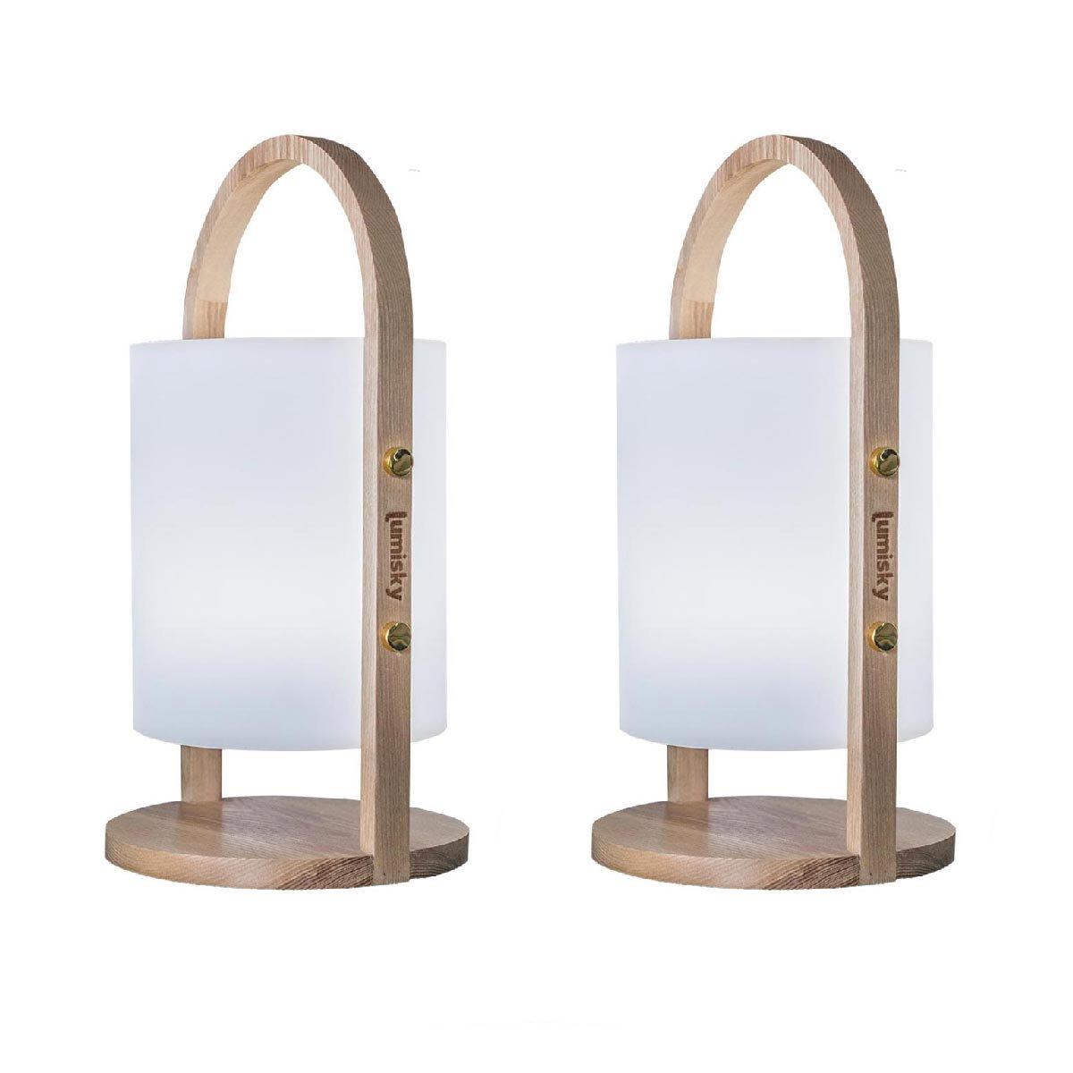 Lot de 2 lanternes en bois bois blanc 37cm