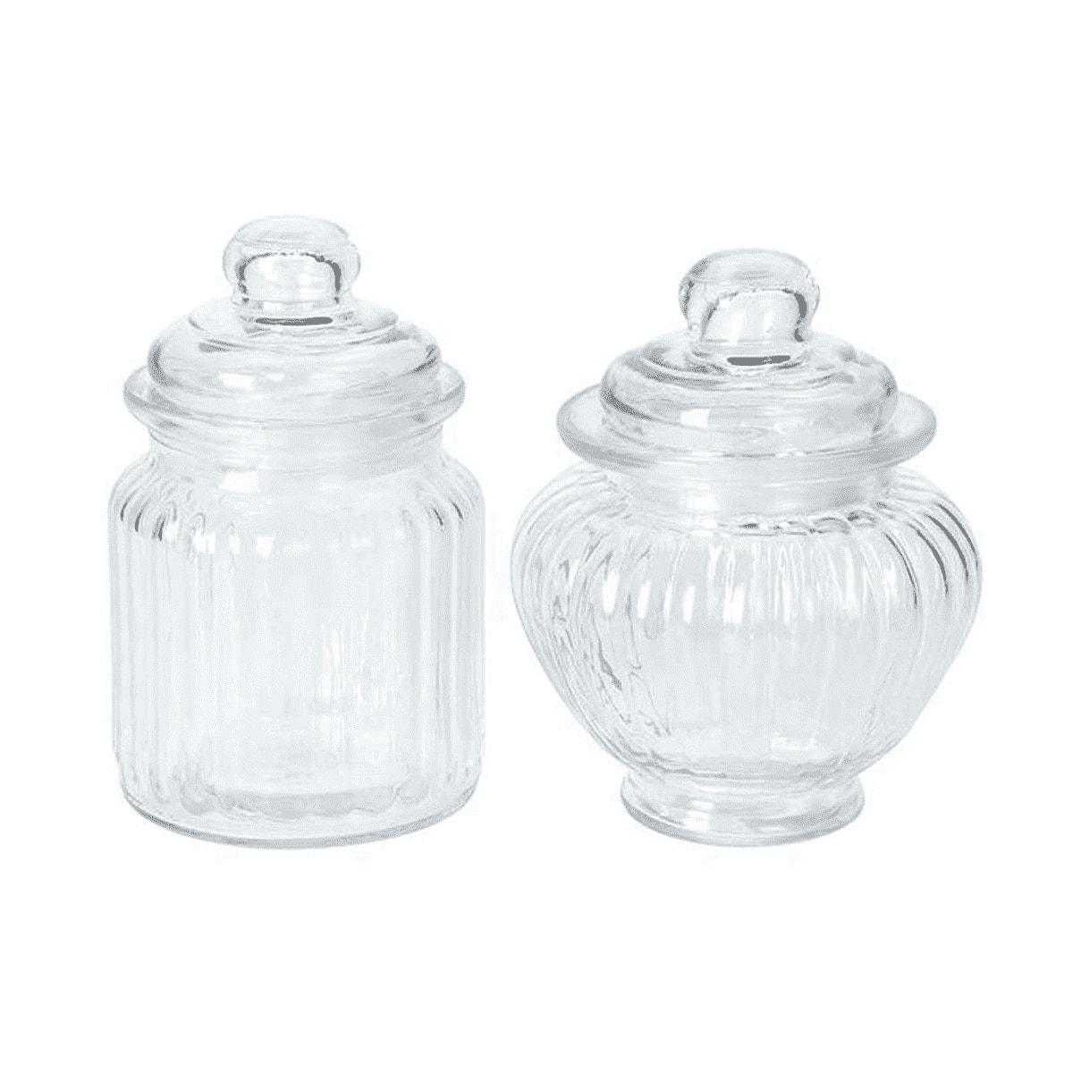 Set de 2 petites bonbonnières en verre classiques