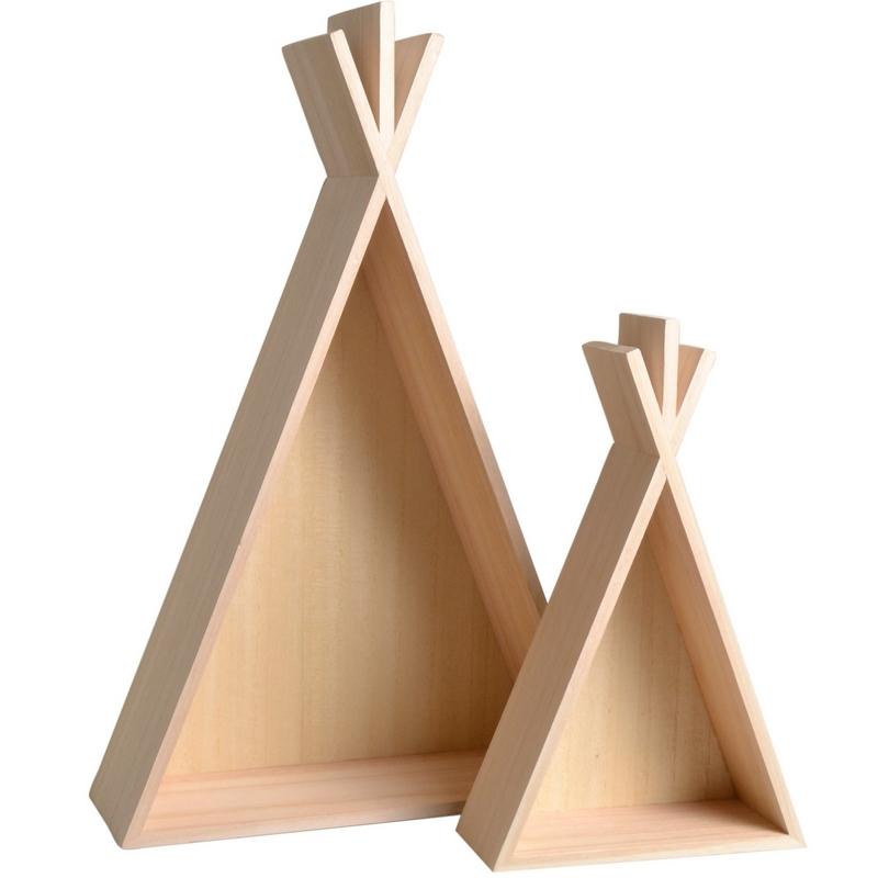 Étagères en bois enfant tipi H45cm et H26cm