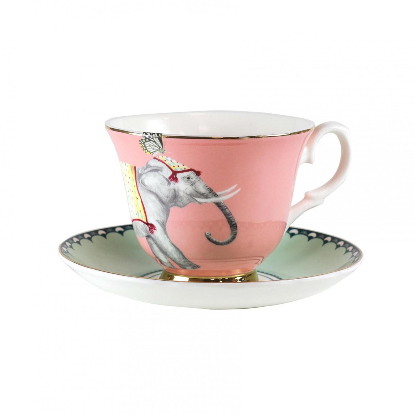 Tasse à thé et soucoupe en porcelaine éléphant