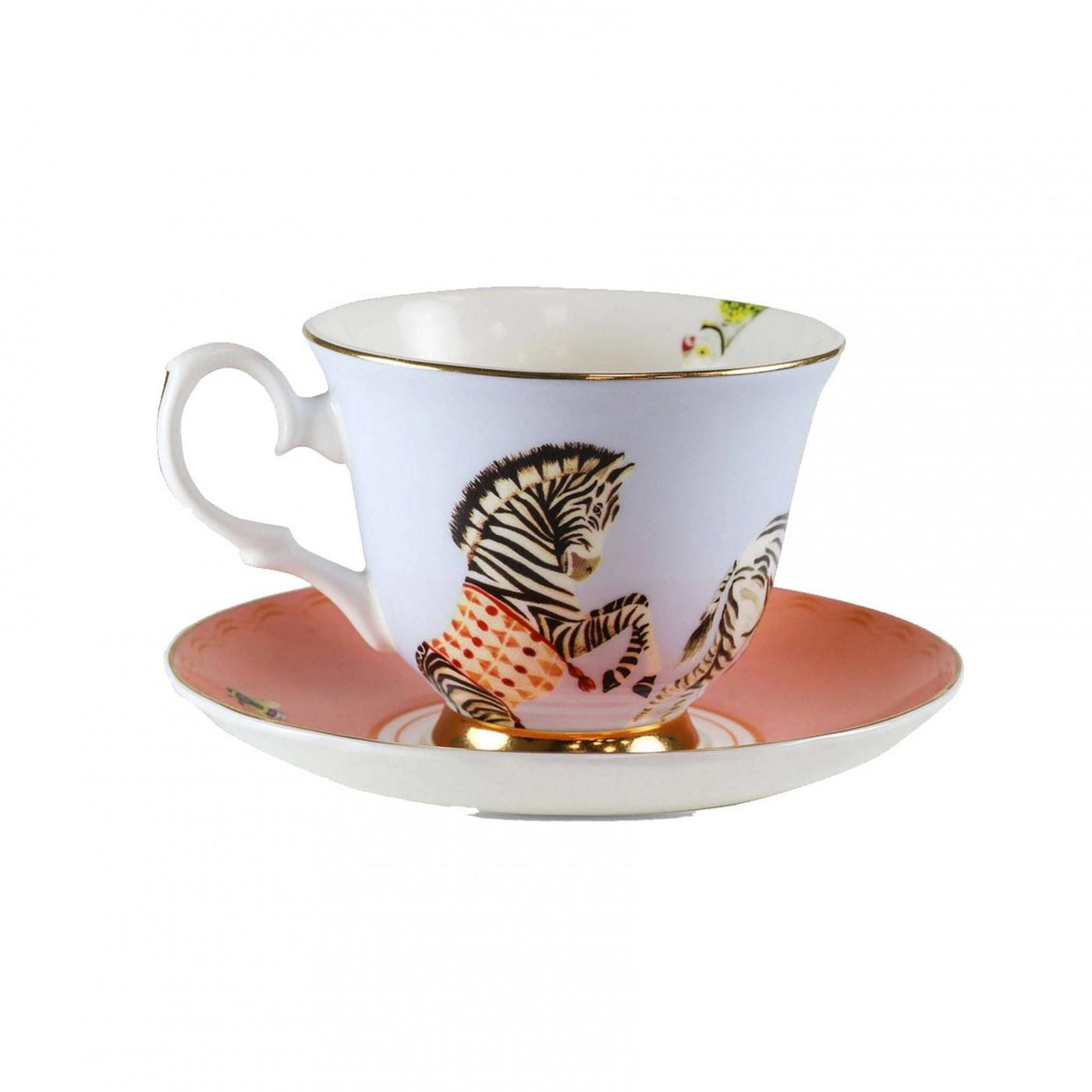 Tasse à thé et soucoupe en porcelaine zèbre