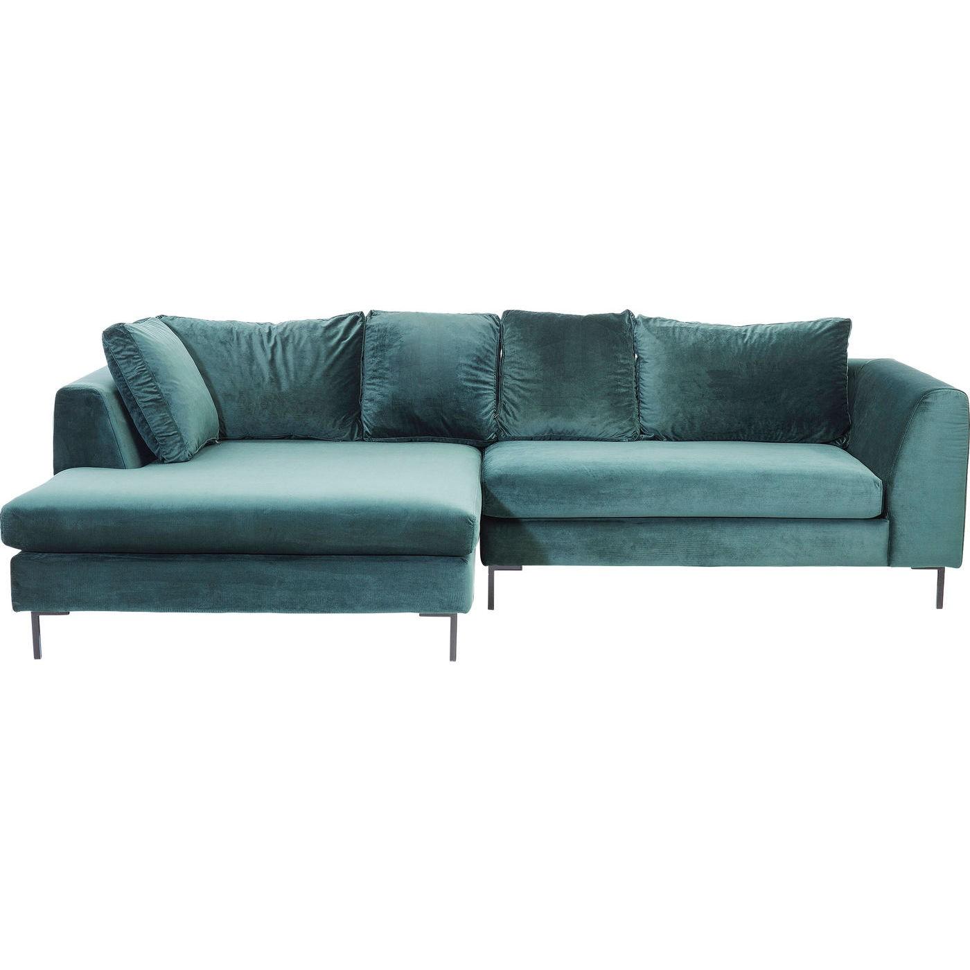 Canapé d'angle gauche 4 places en velours bleu-vert