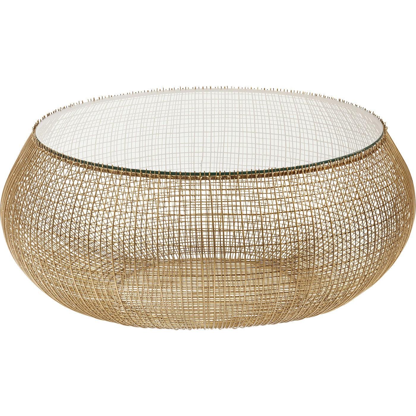 Table basse ronde en verre et acier doré