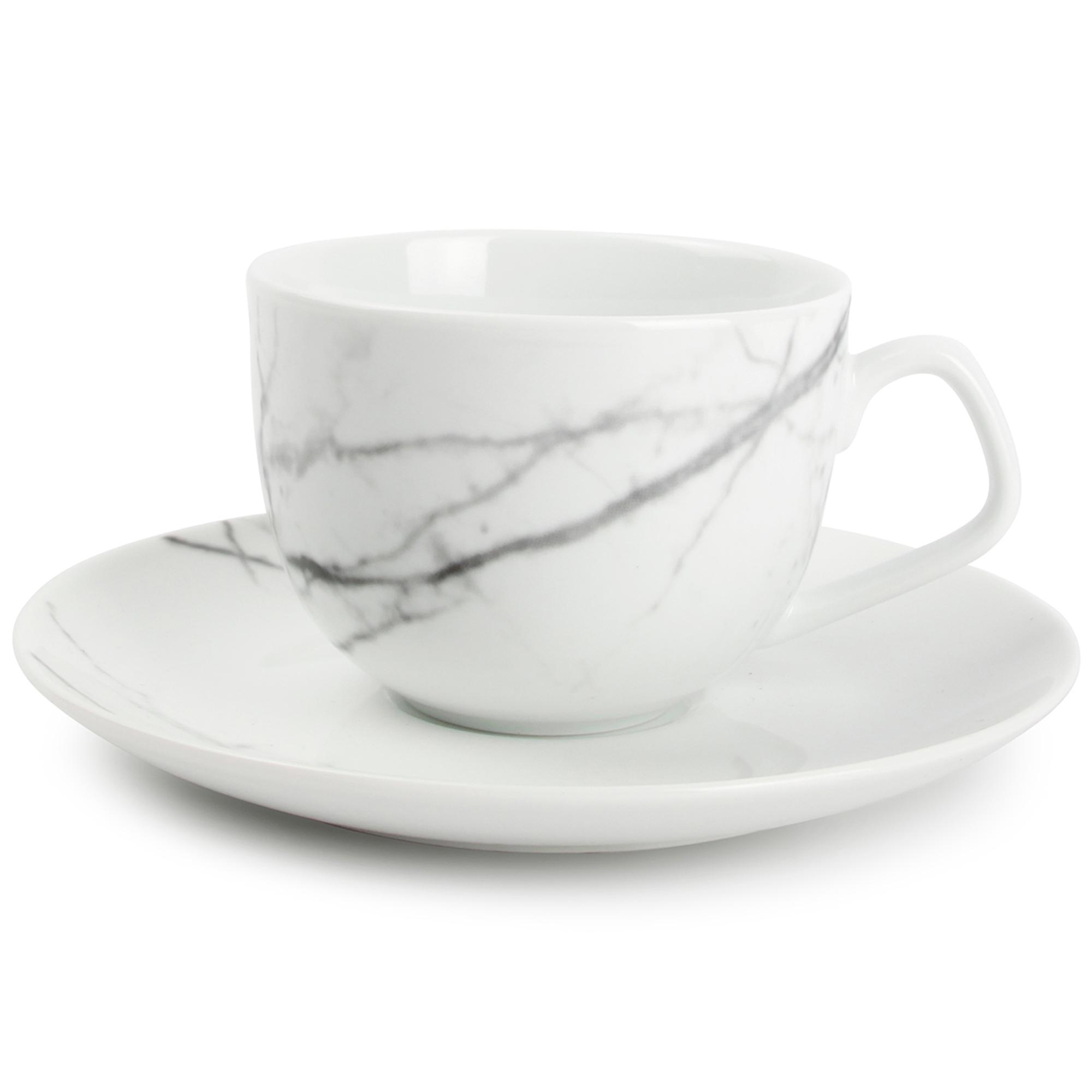 Set de 4 - Tasse et soucoupe marbre Ø 9cm