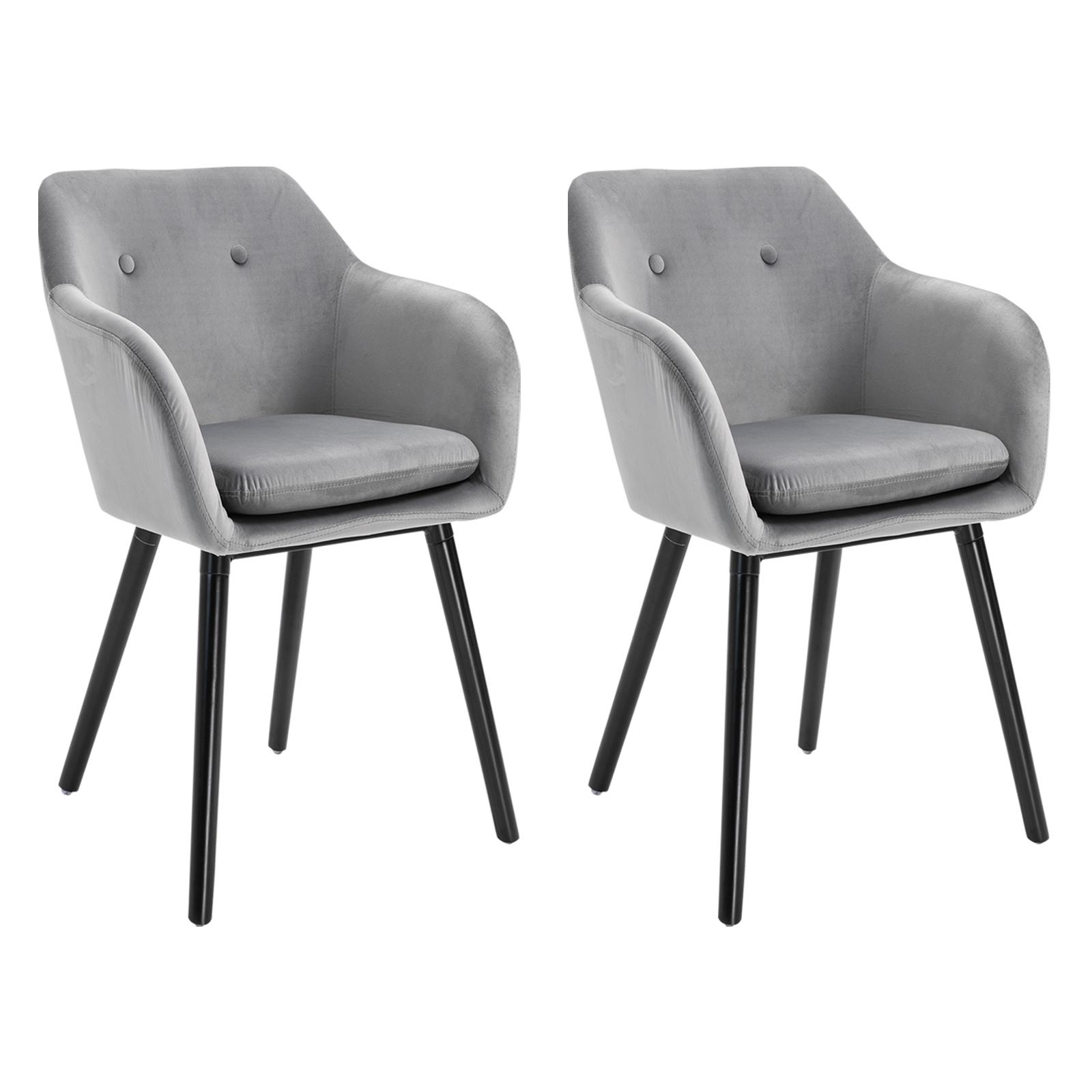 Lot de 2 chaises de visiteur style scandinave velours
