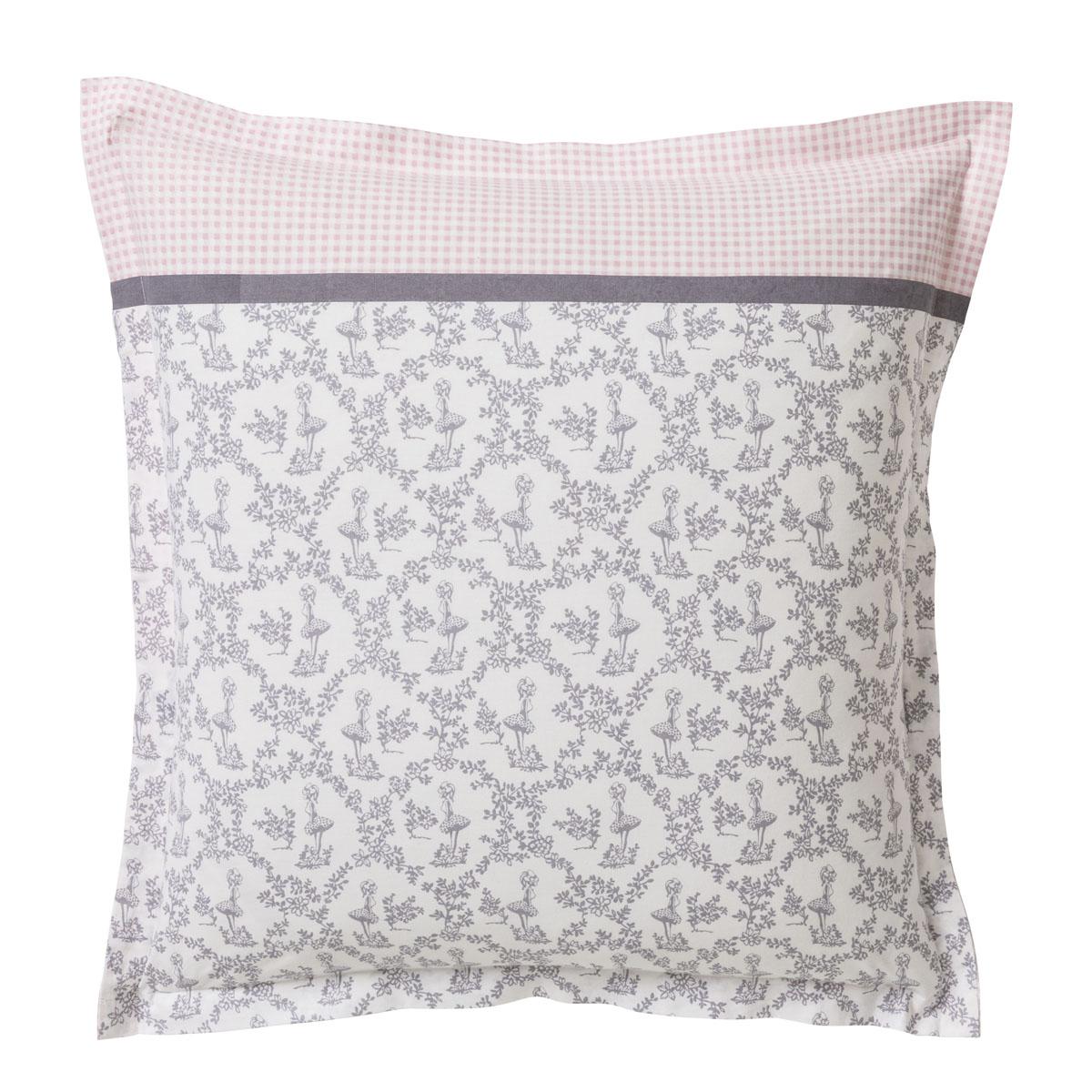 Taie d'oreiller en coton rose et gris 63x63