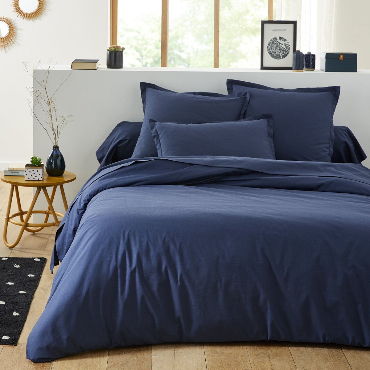 Housse de couette unie en coton bleu nuit 260x240