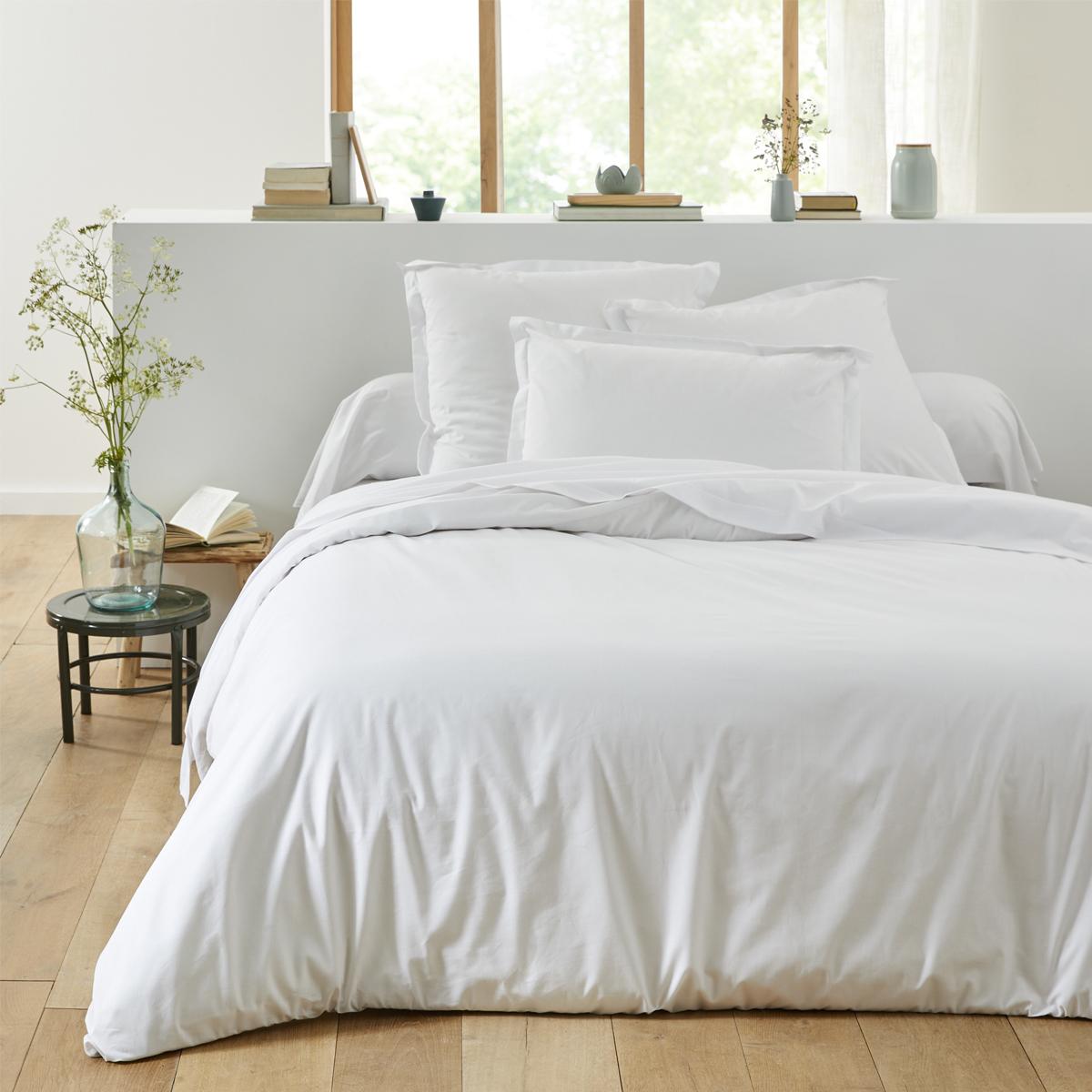 Housse de couette unie en coton blanc 260x240