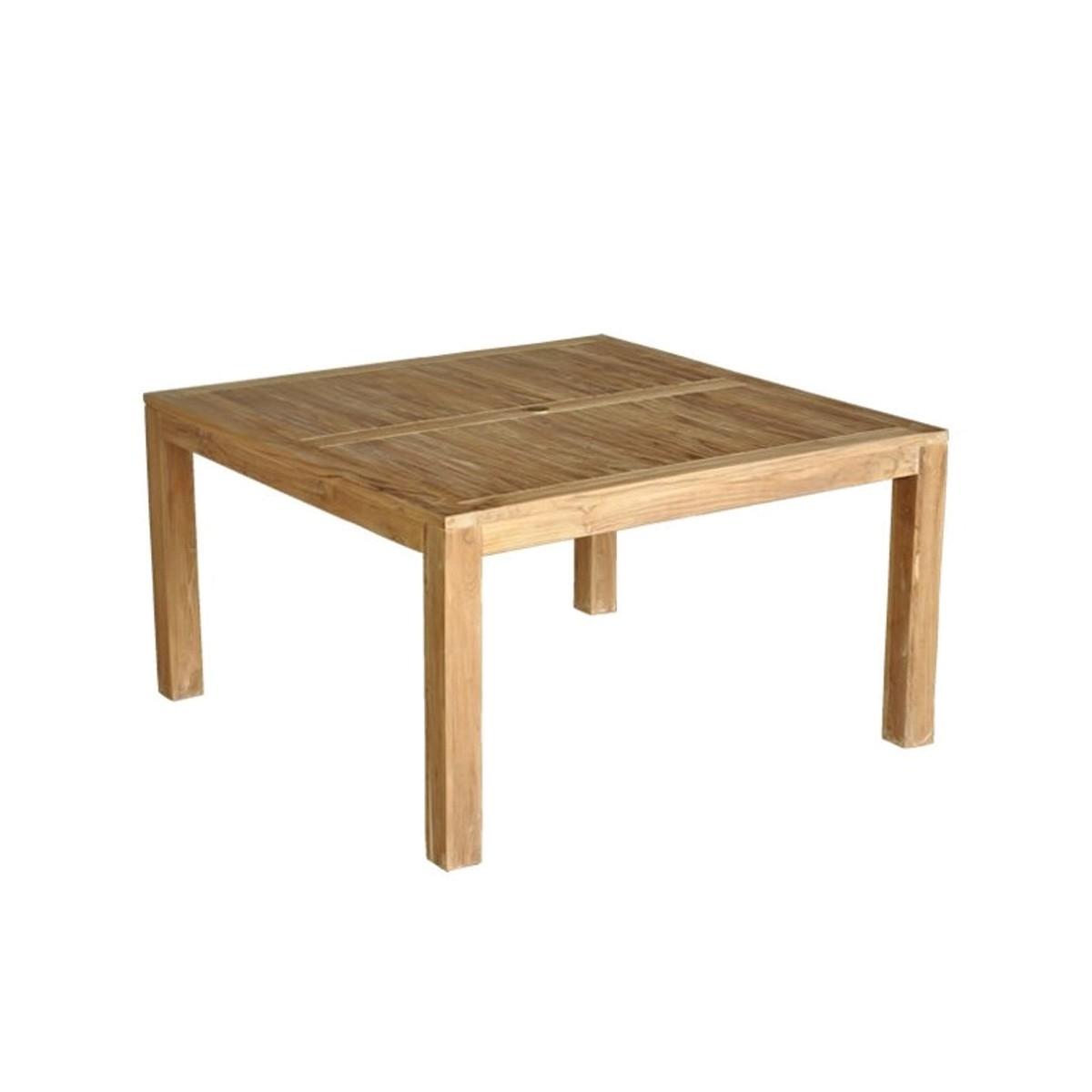 Table de jardin carrée en teck 6 personnes