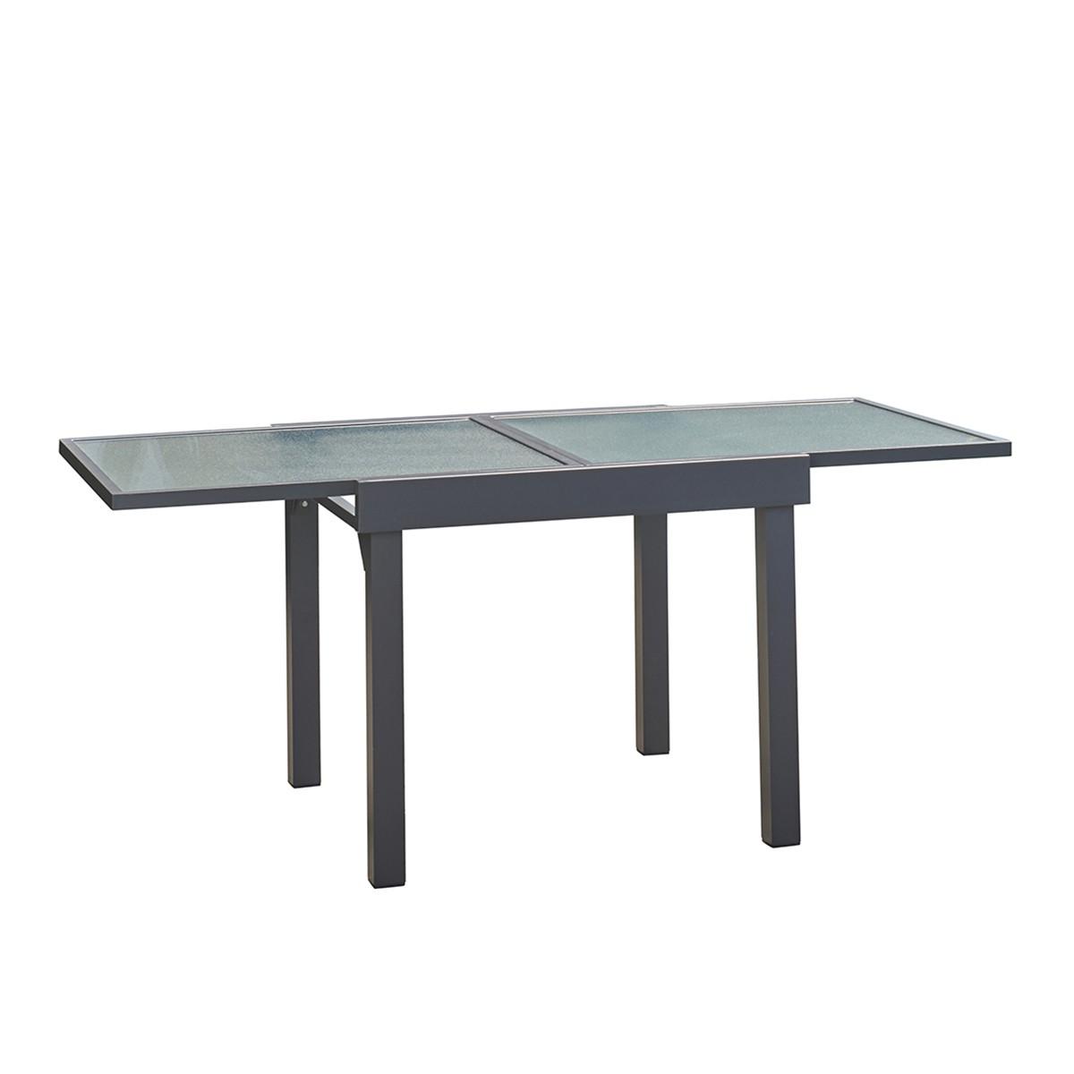 Table de jardin extensible en aluminium gris 4/8 places