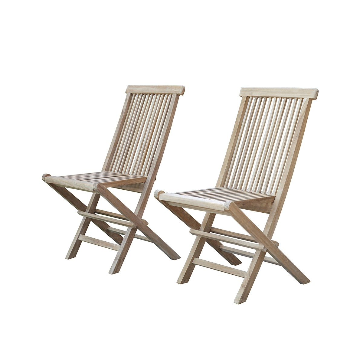 2 chaises de jardin en teck pliantes