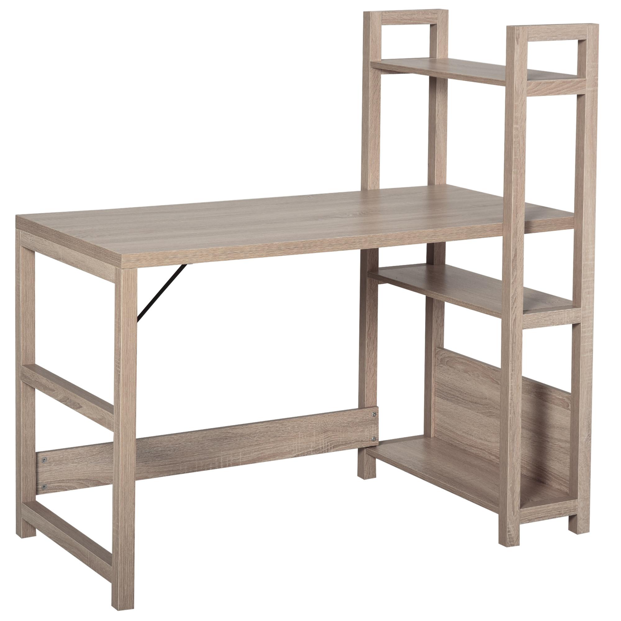 Bureau bibliothèque 3 étagères aspect bois chêne clair