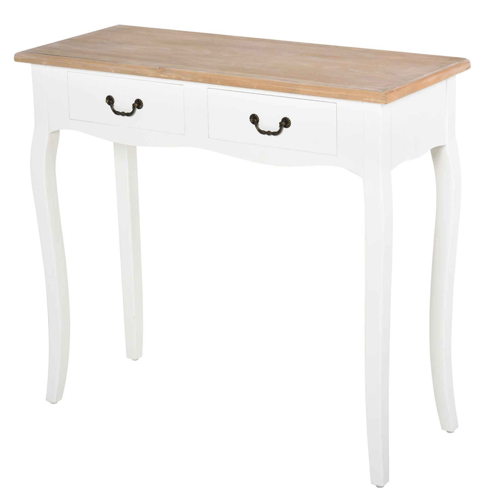Console style table de drapier shabby chic 2 tiroirs blanc