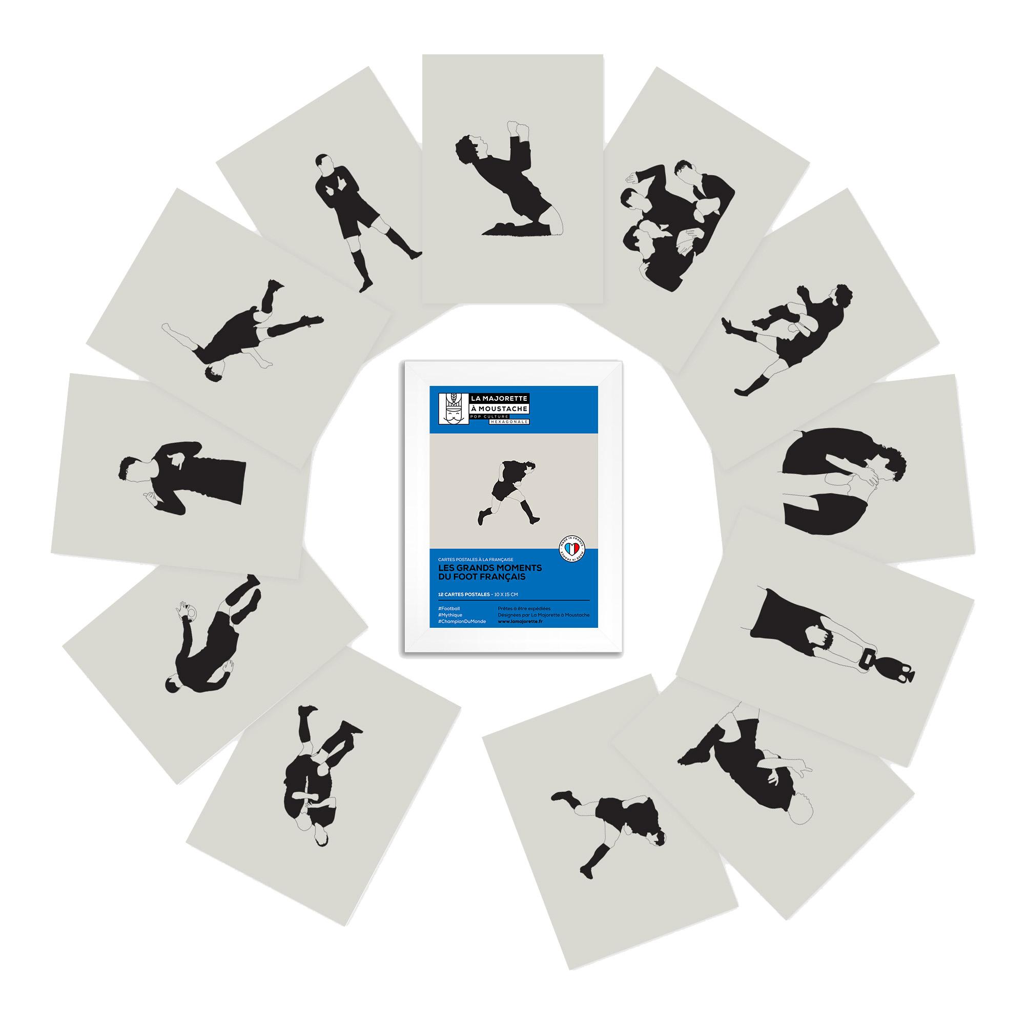 Etui 12 cartes postales - Les grands moments du football français